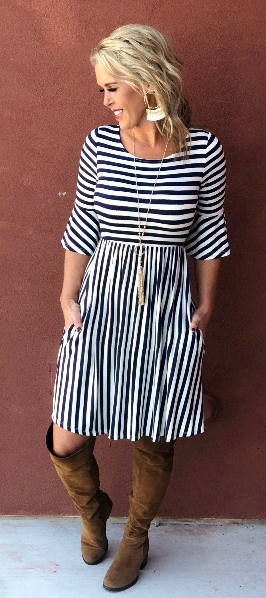 Bay Breeze Navy Striped Pocket Dress
