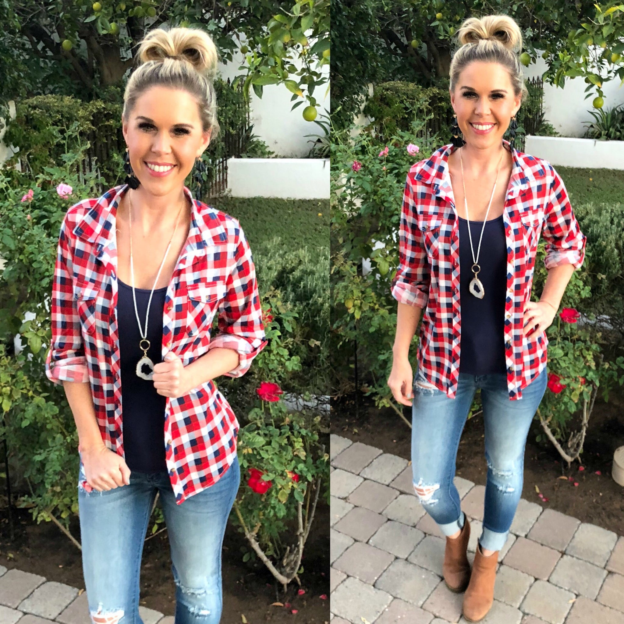 Penny Plaid Flannel Top: Fire Red/Navy