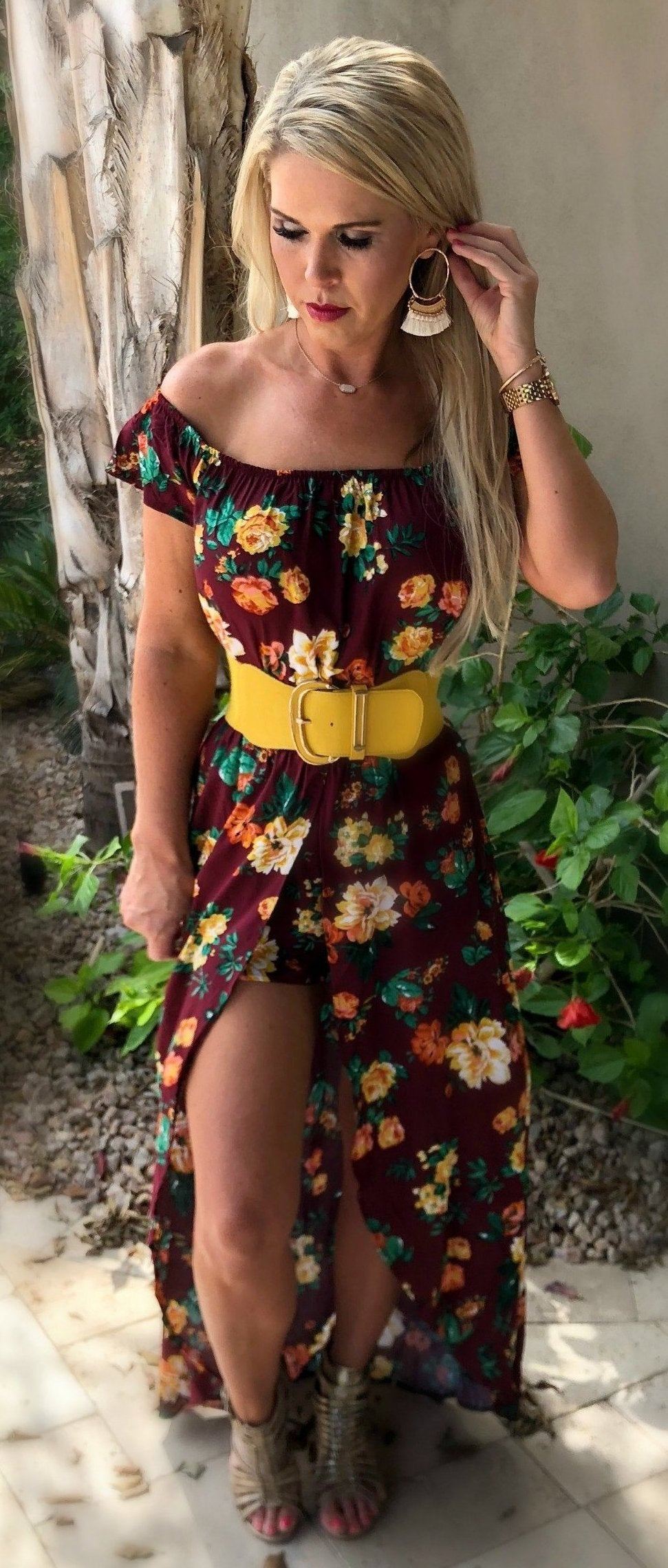 Can't Get Enough Maxi Romper: Burgundy