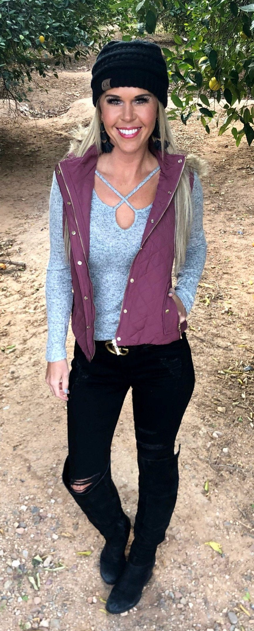 For the Record Hooded Vest: Mulberry