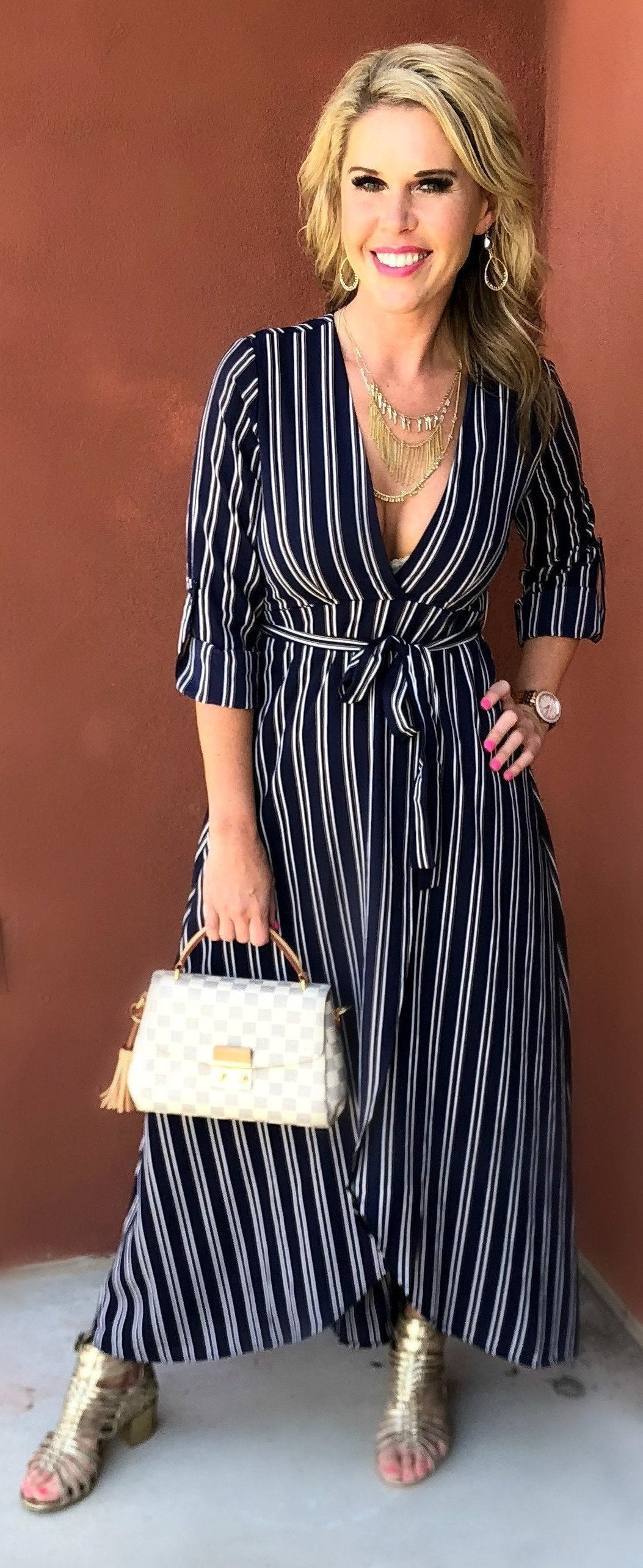 All the Stripes Navy Dress