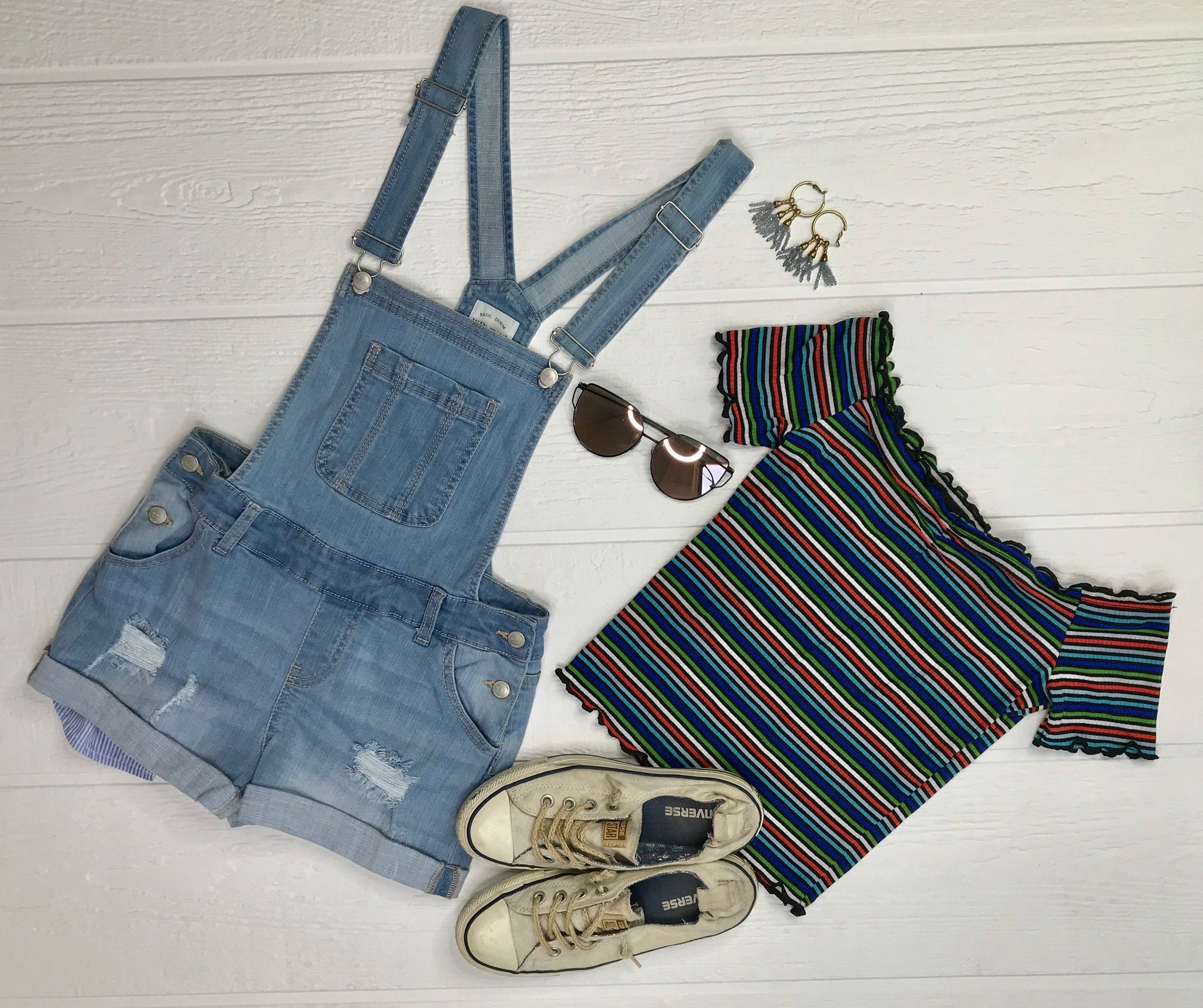 Distressed Denim Overalls: Light