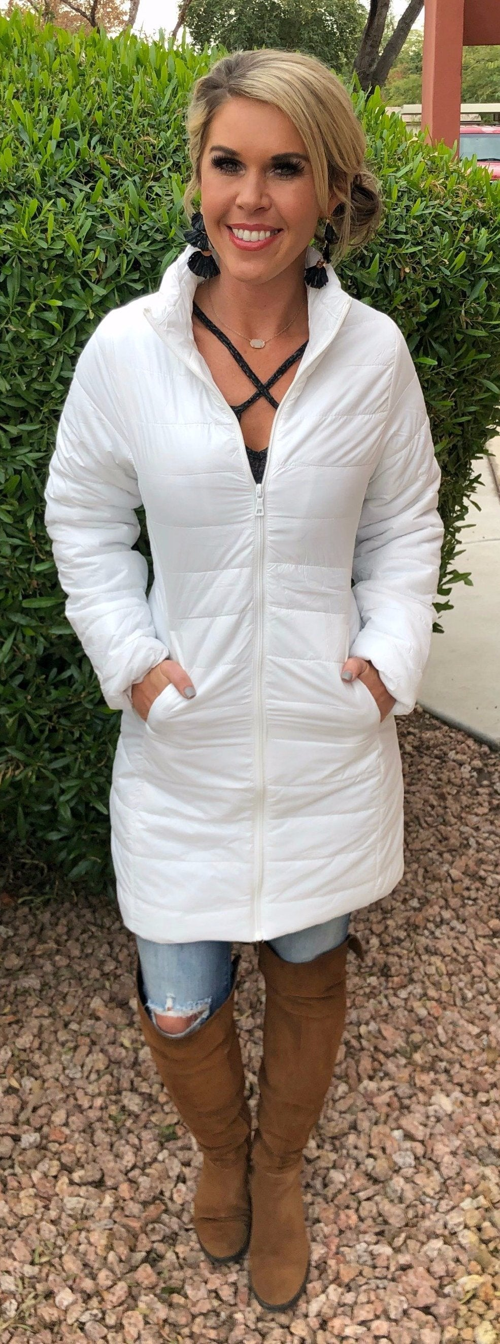 White Quilted Puffer Jacket