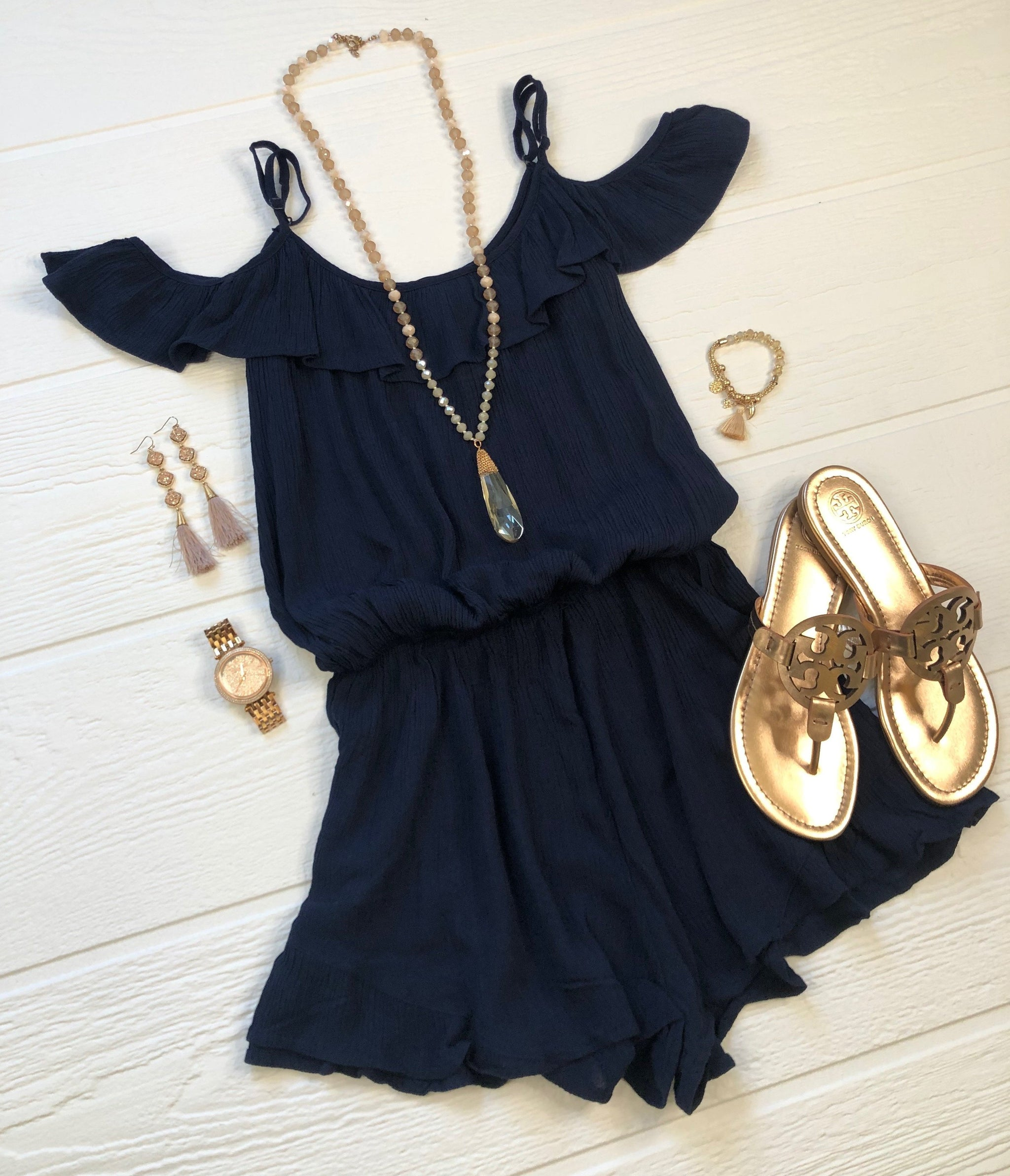 Make It Interesting Ruffled Cold Shoulder Romper: Navy