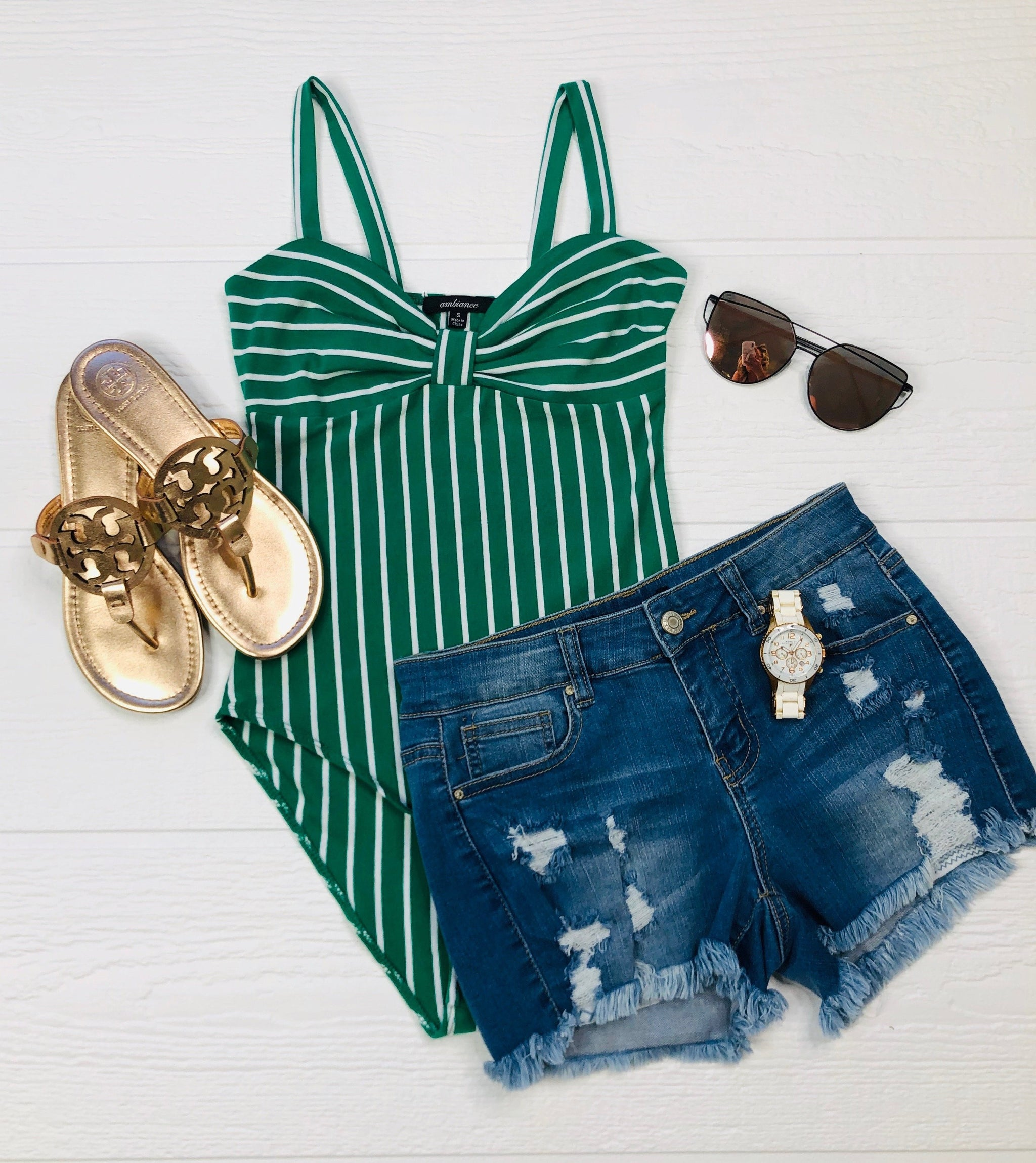 Striped Bow Bodysuit: Green