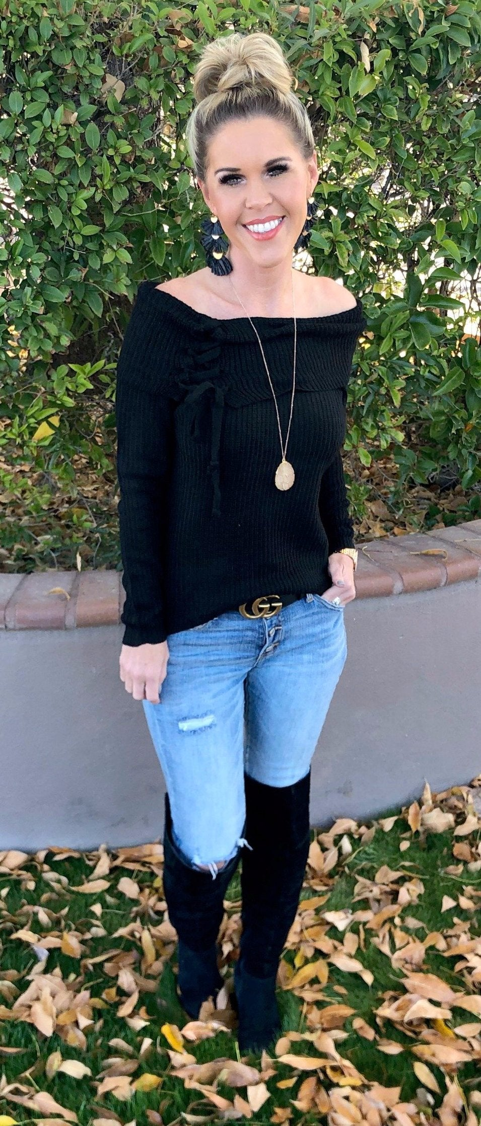 Lace Up Off the Shoulder Sweater: Black