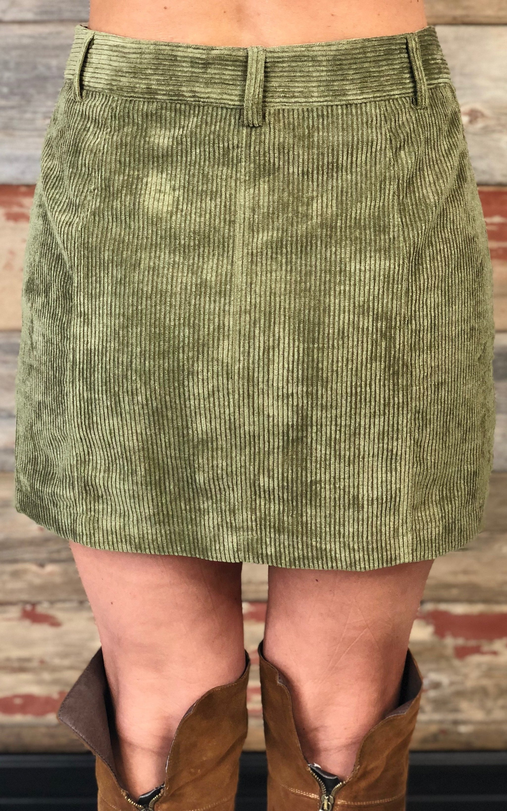 Find the Answers Corduroy Skirt: Sage