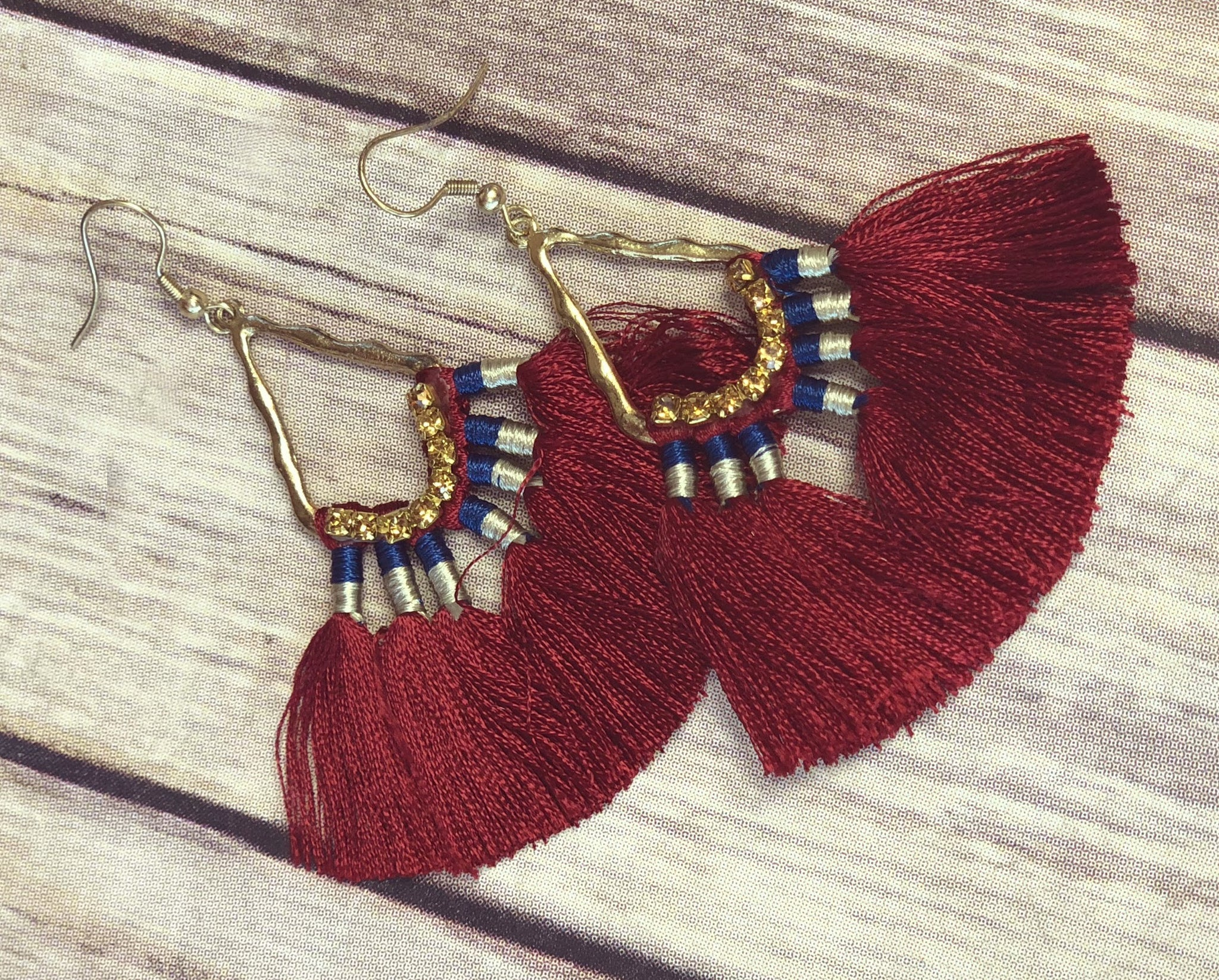 Request More Time Burgundy Tassel Earrings
