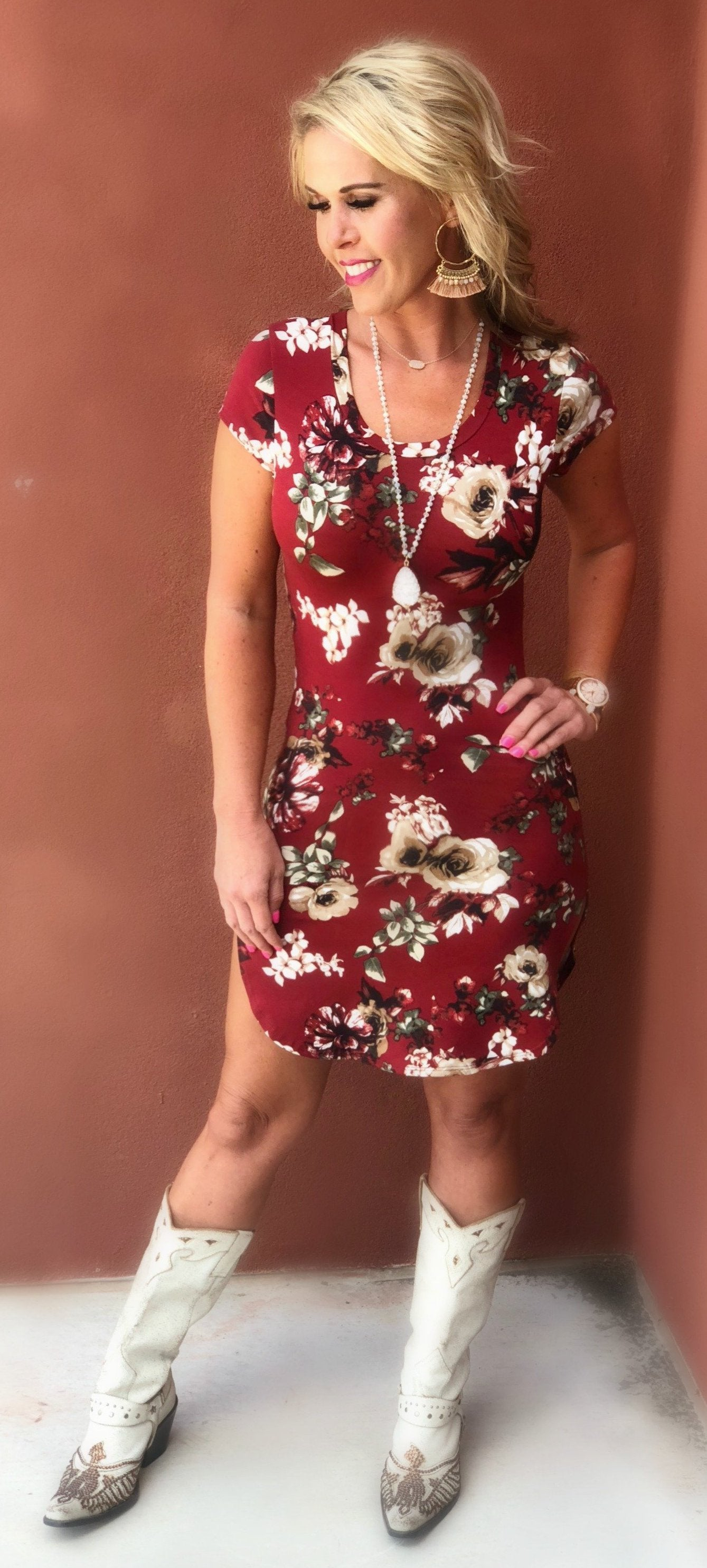 Fall Florals Dress: Burgundy