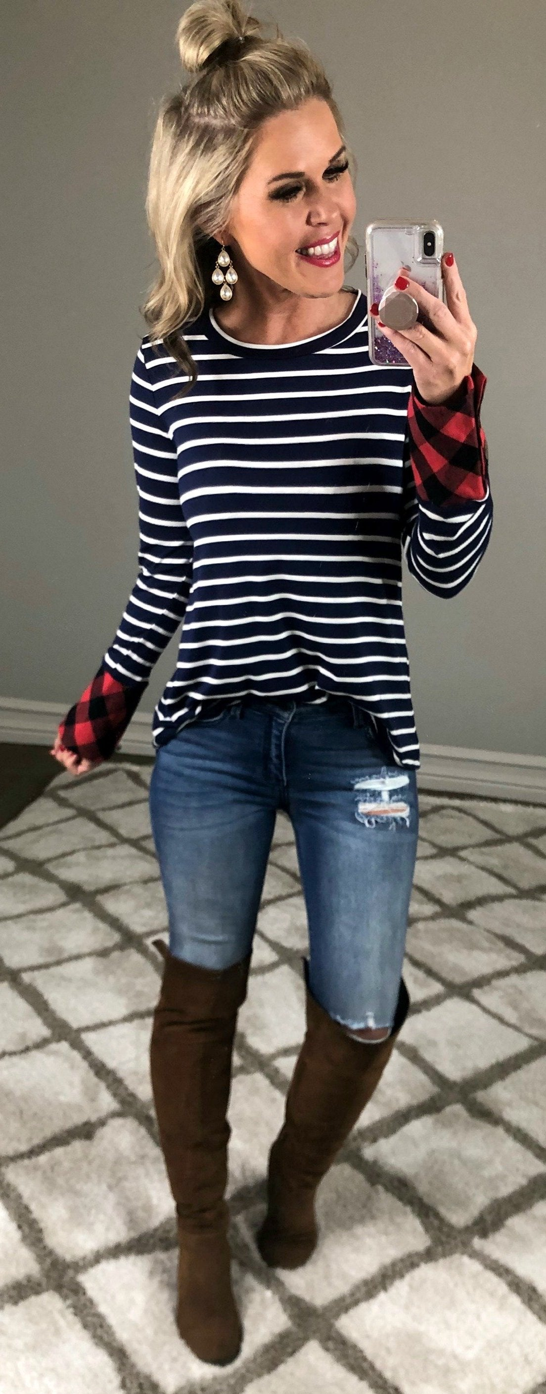 Comfort Times Striped Long Sleeve Top: Navy