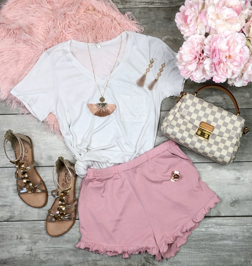 Always On Time Ruffled Shorts: Rose