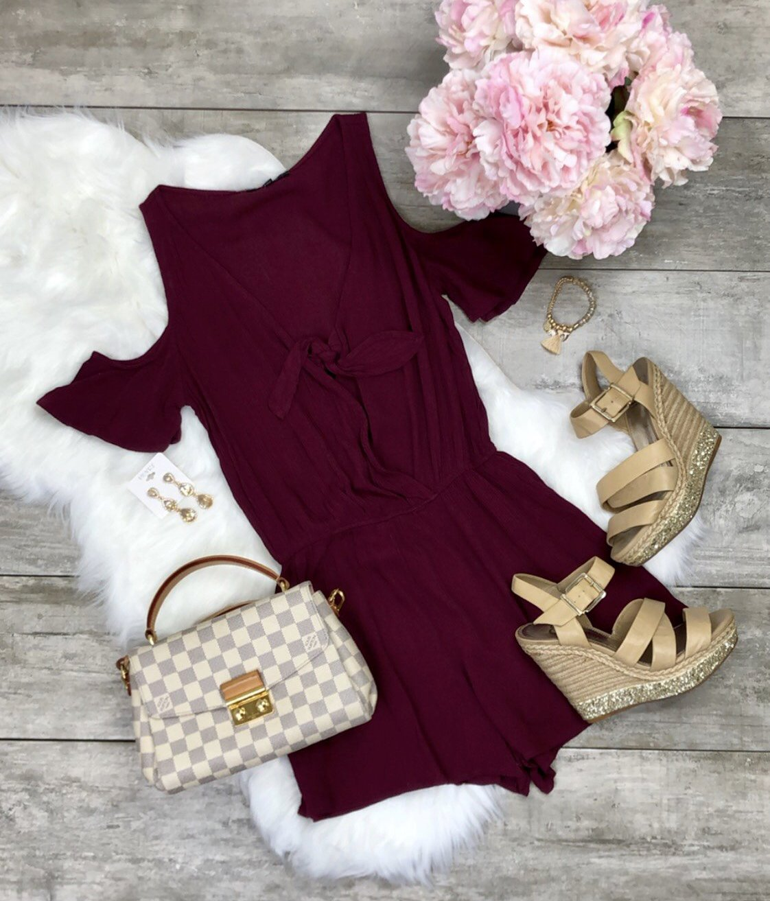 Surely Summer Burgundy Romper