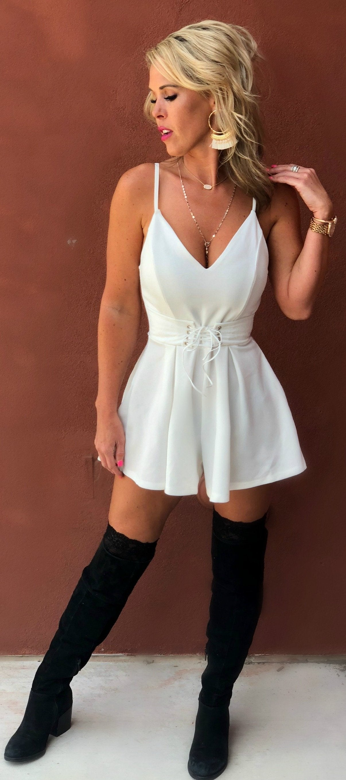 Day or Night Romper: White