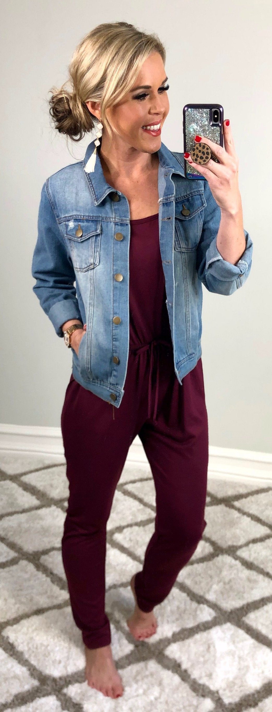 Enjoy this Moment Jumpsuit: Burgundy