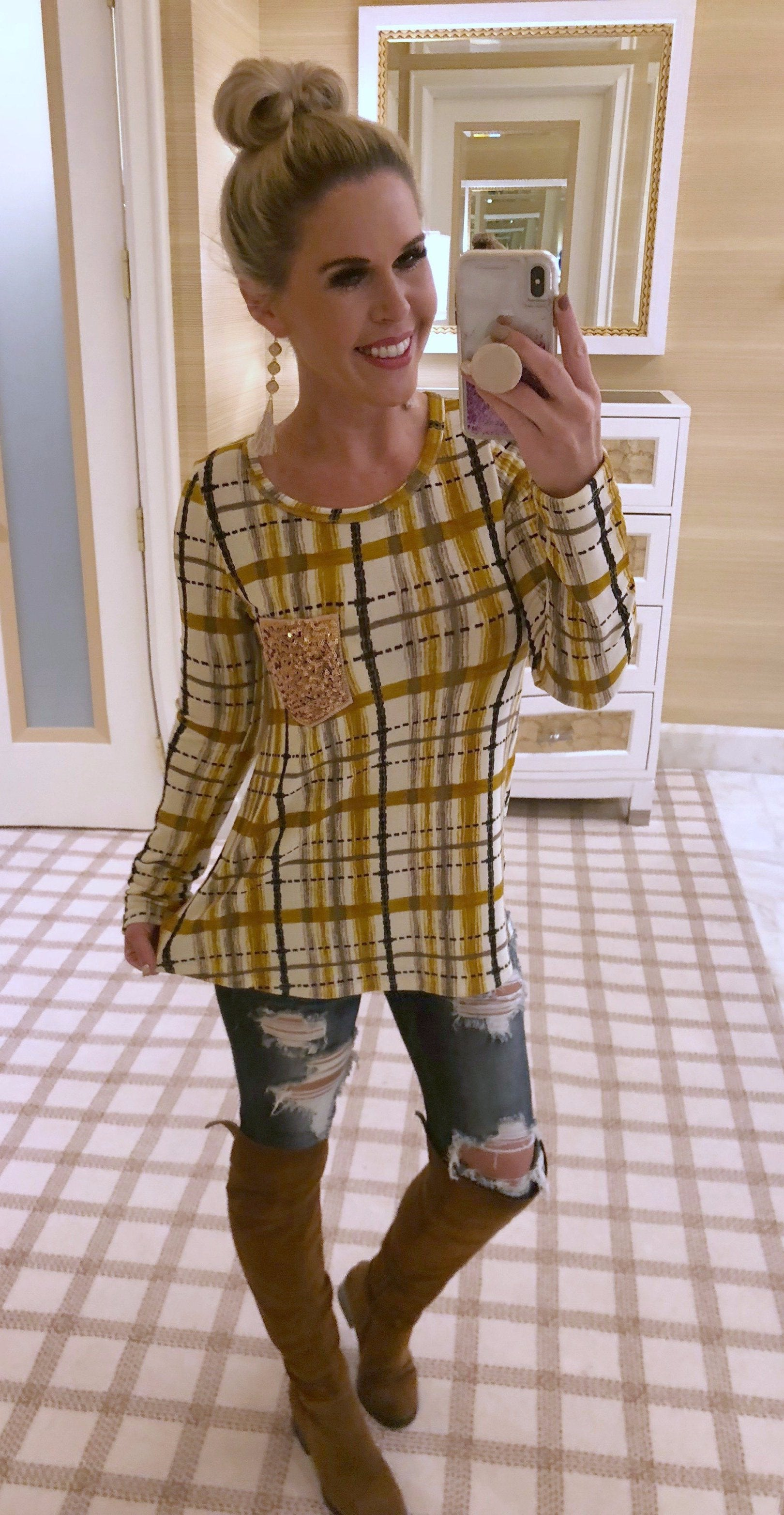 Time Together Sequin Pocket Long Sleeve Plaid Top: Mustard