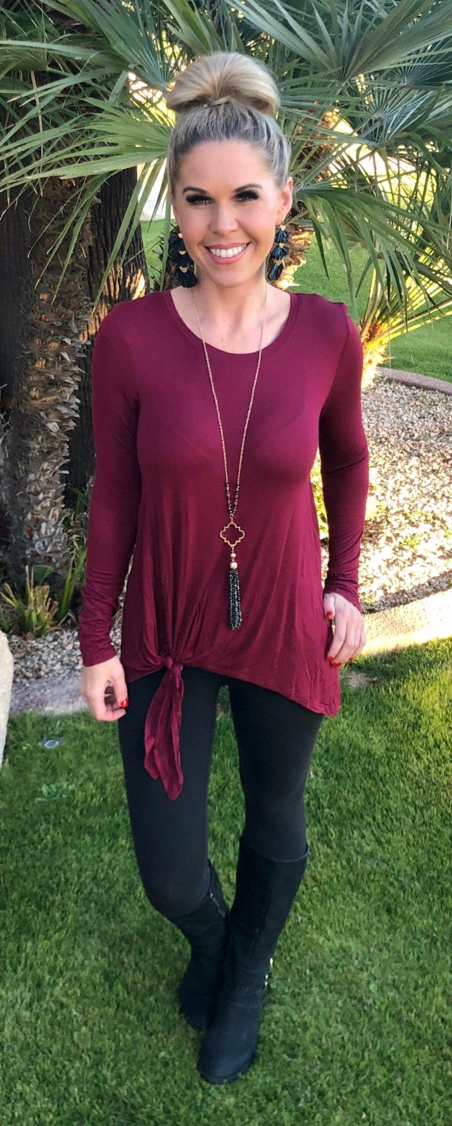 Forever Your Girl Tie Top: Burgundy