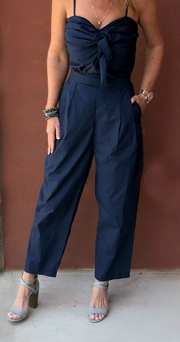 Jumping for Joy Navy Jumpsuit