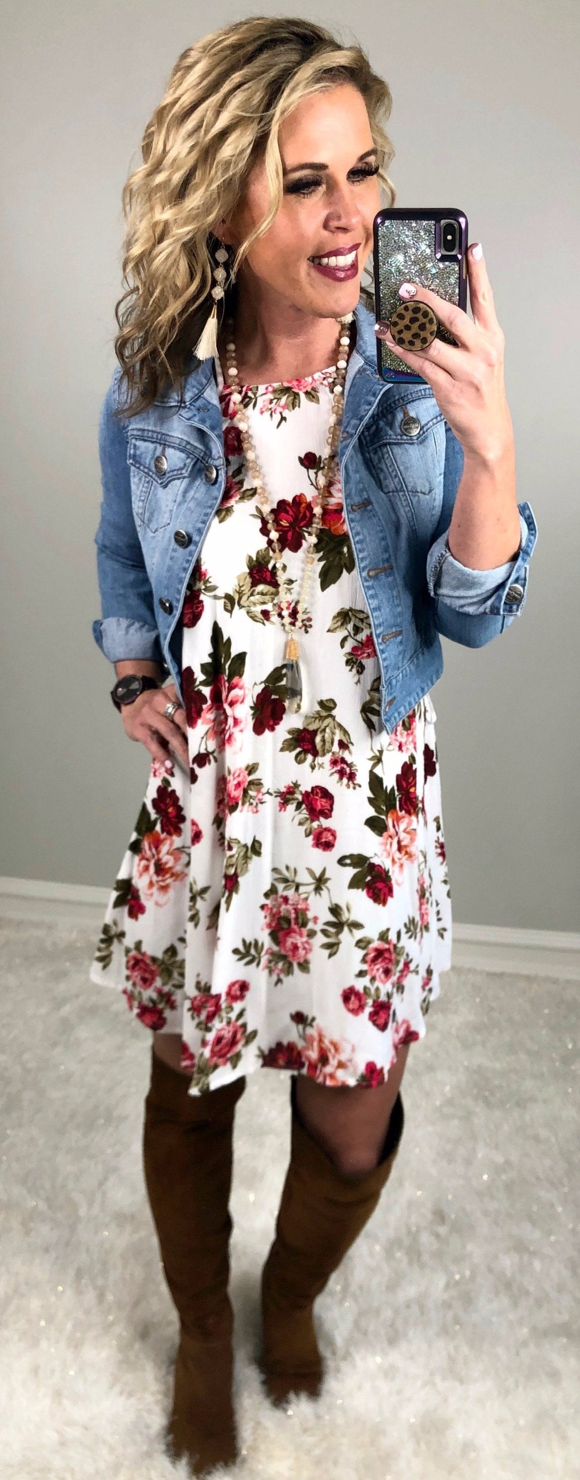 Day Dreaming Floral Dress: White