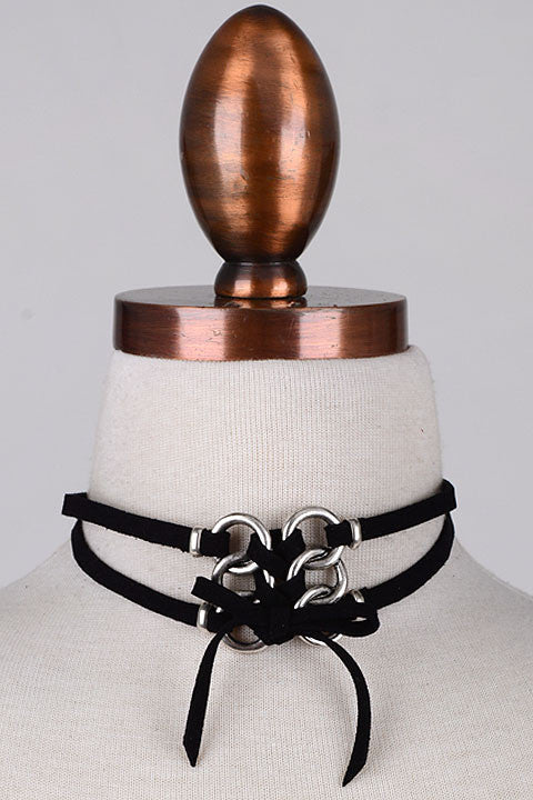 Ring It Leather Bow Choker