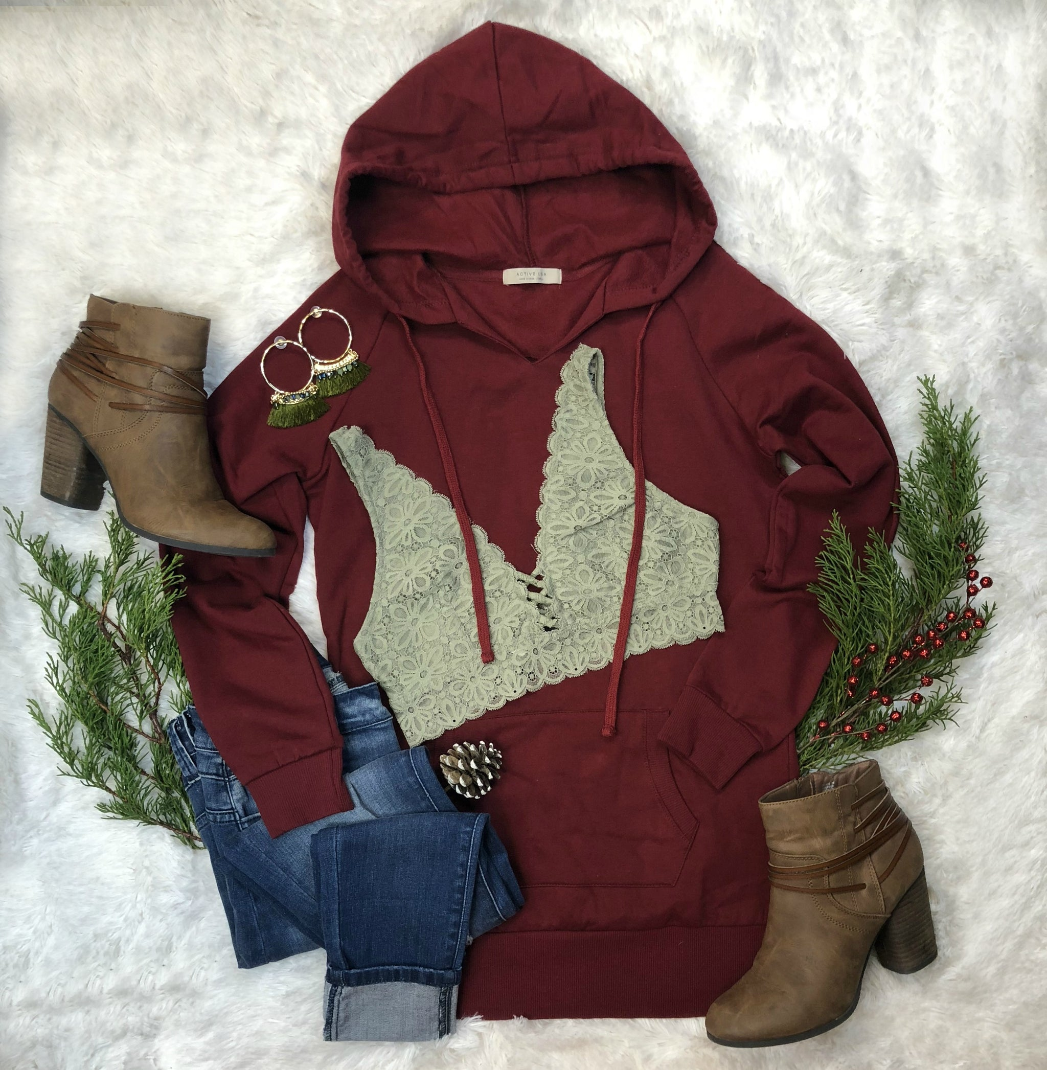 Long Hooded Sweatshirt: Burgundy