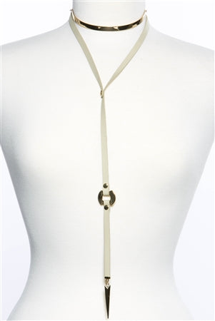 Come as You are Leather Choker: Beige