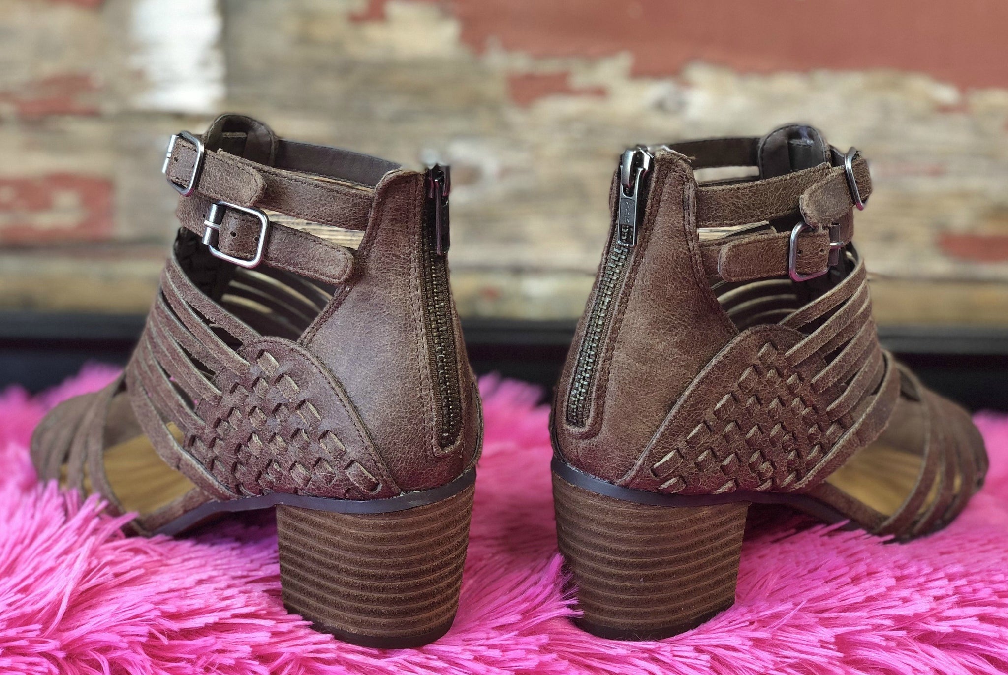 Walk Out of Here Taupe Caged Heels