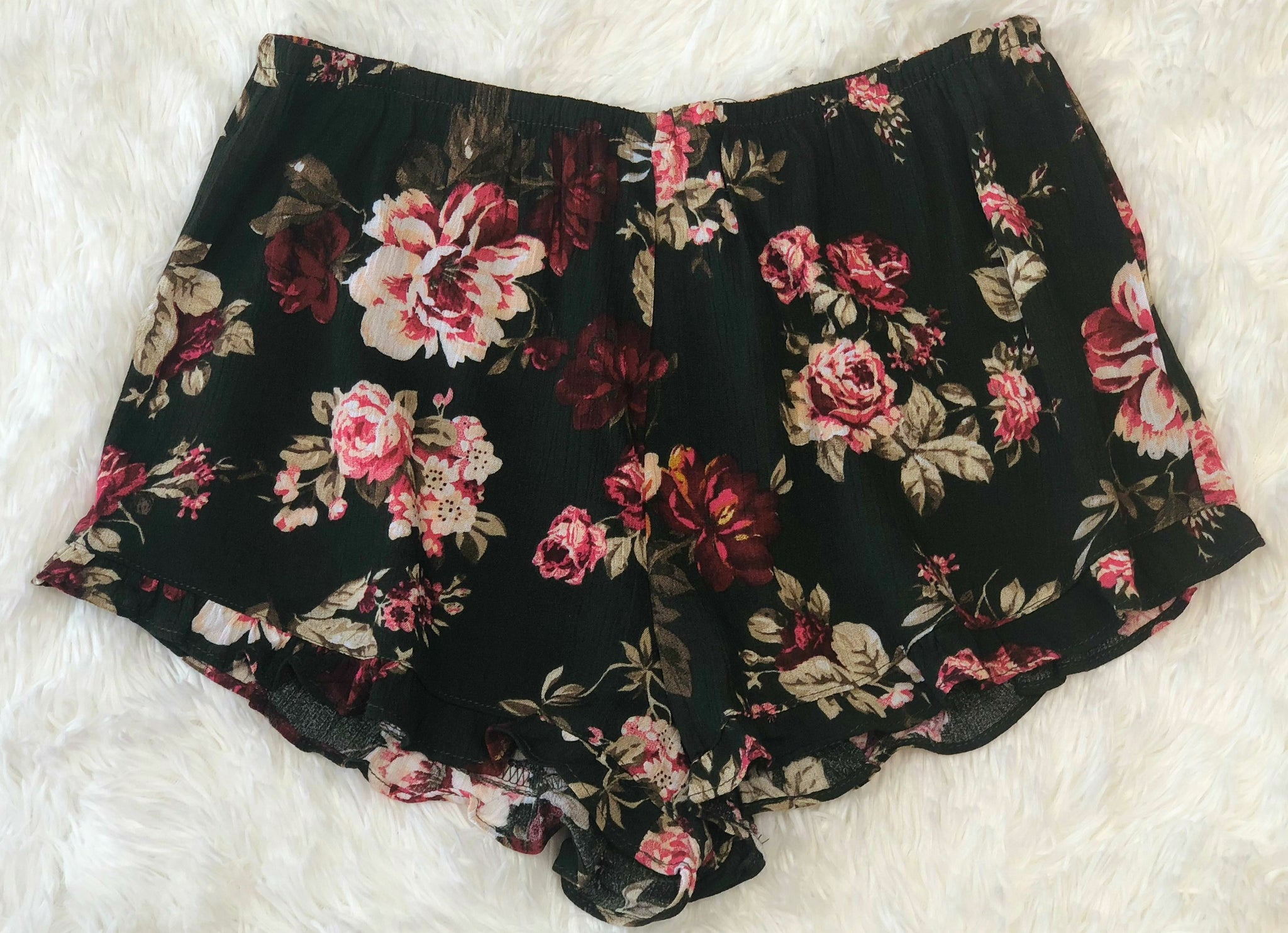 Our Little Secret Floral Shorts: Olive