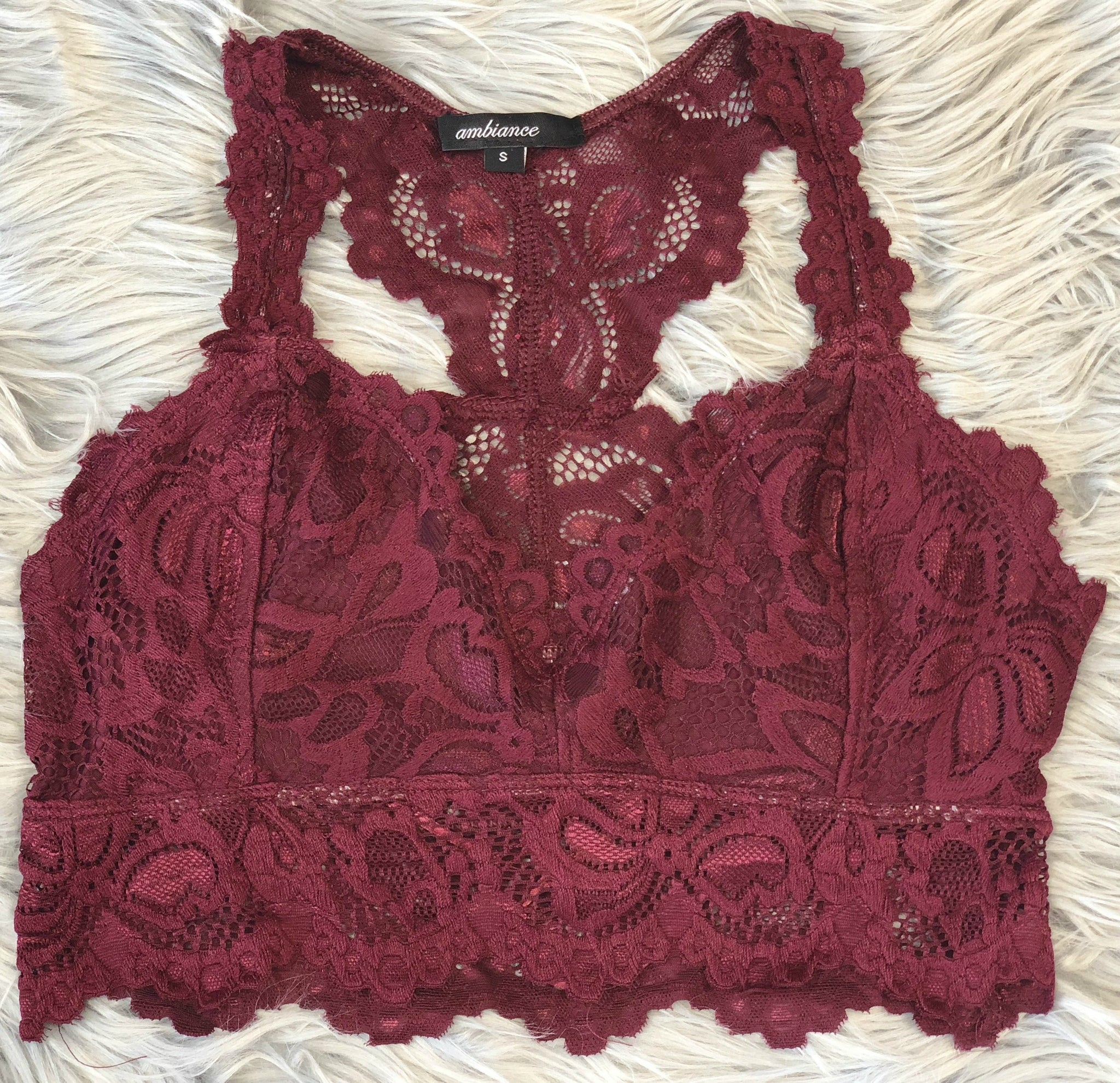 Bare it All Lace Racerback Bralette: Burgundy