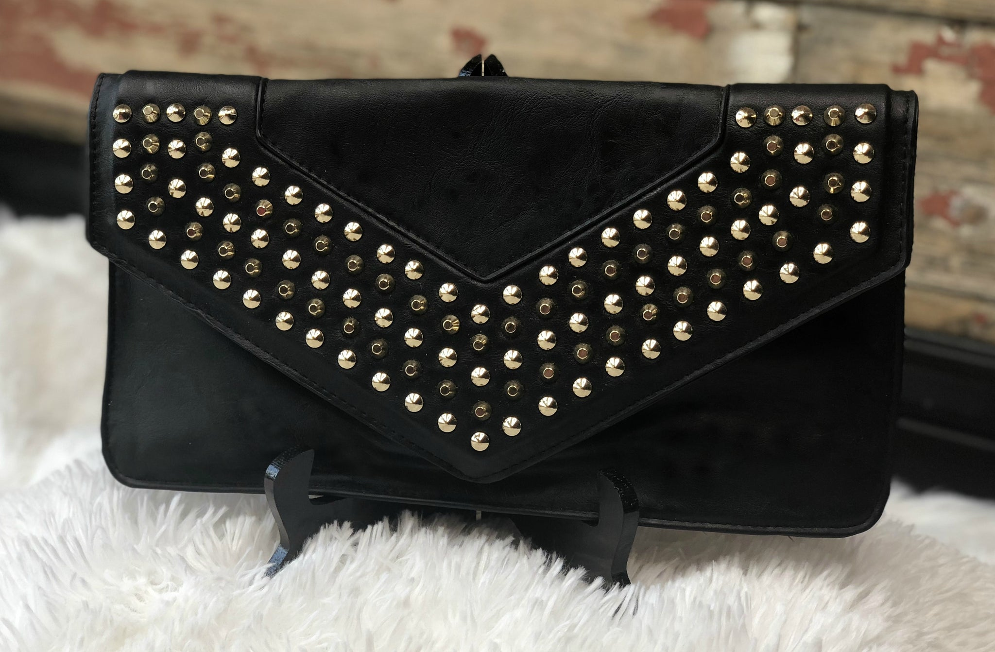 225f1766 Hold Me Studded Clutch: Black - privityboutique