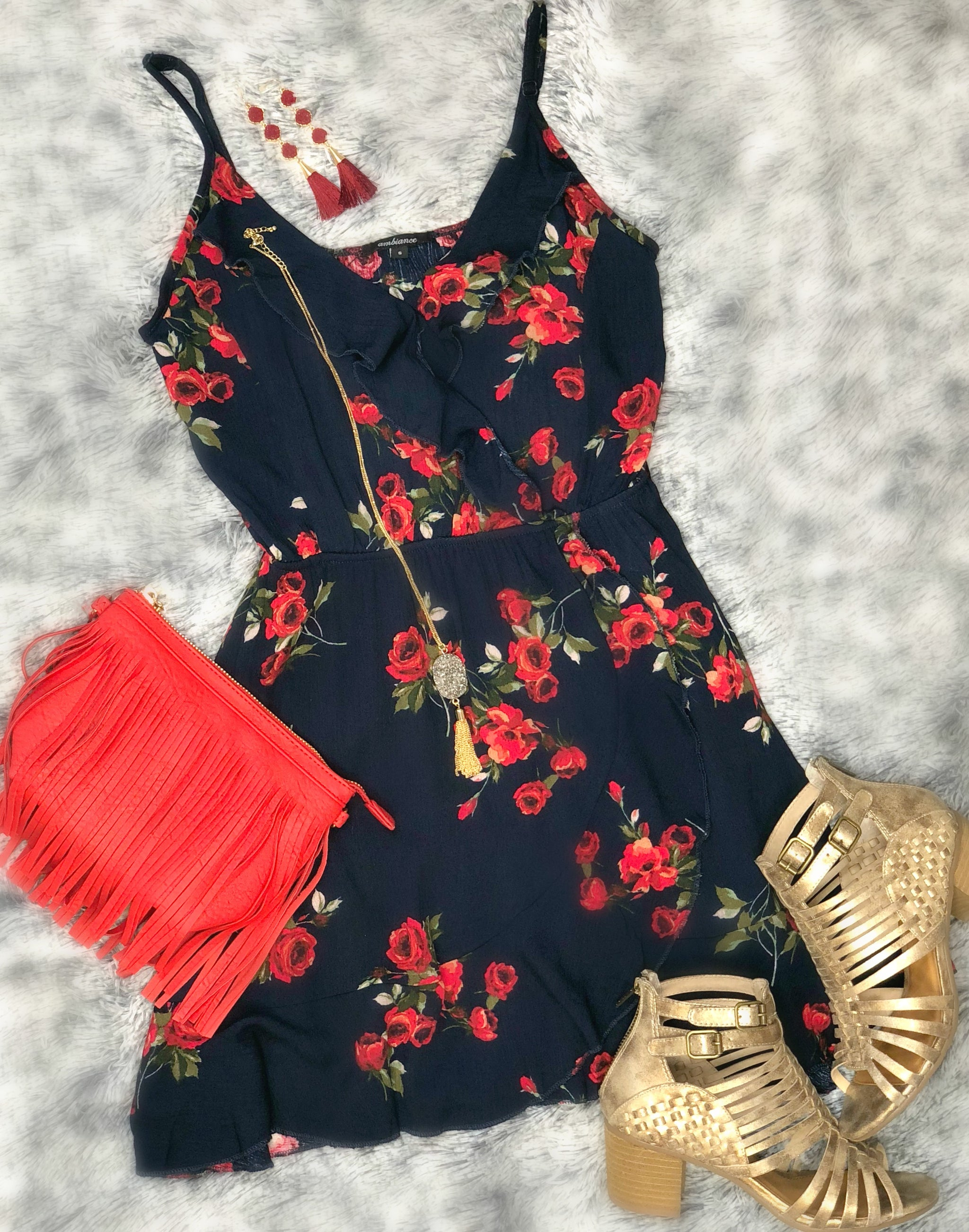 This is for Me Floral Dress: Navy