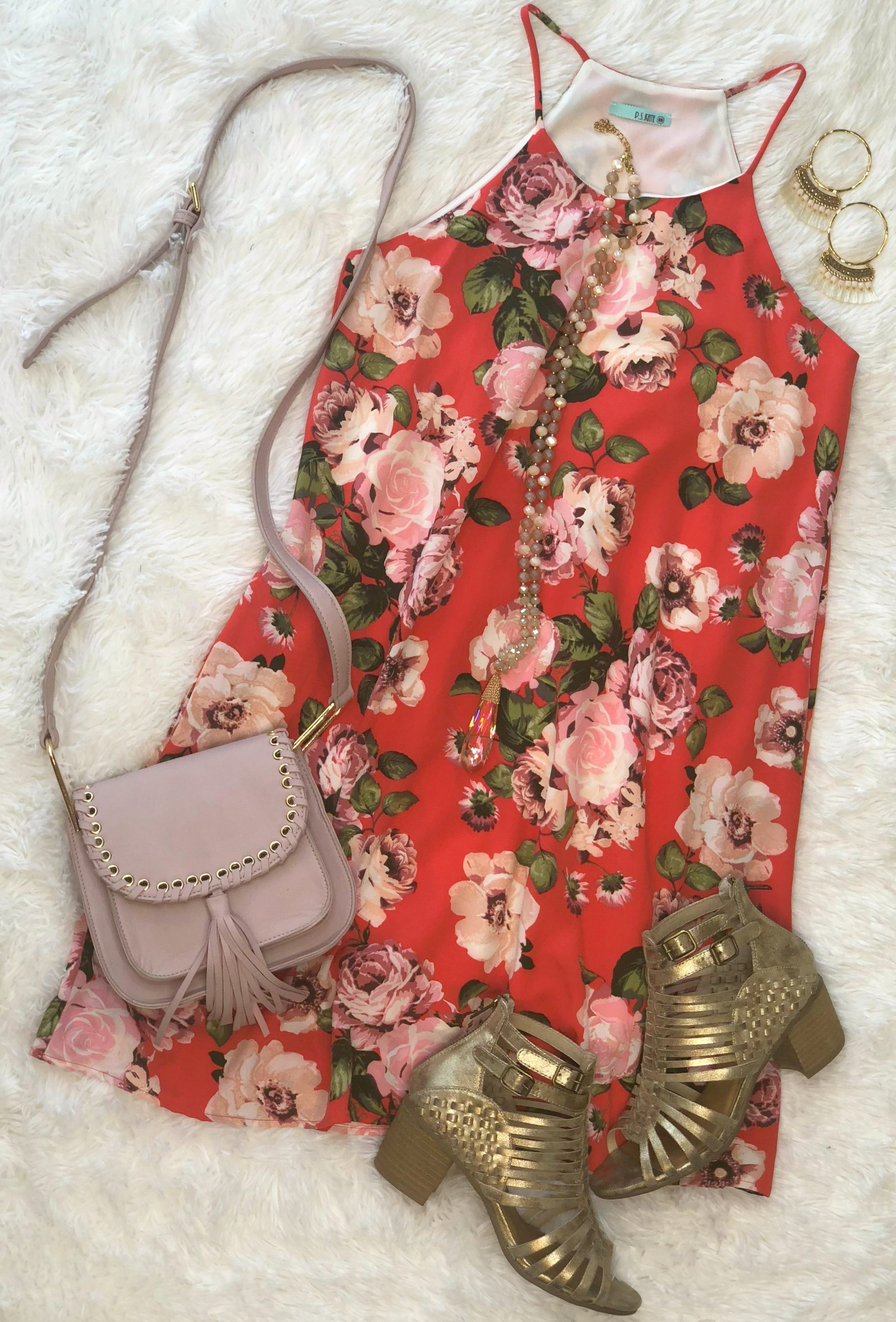 Only this Time Pocket Floral Dress: Scarlet