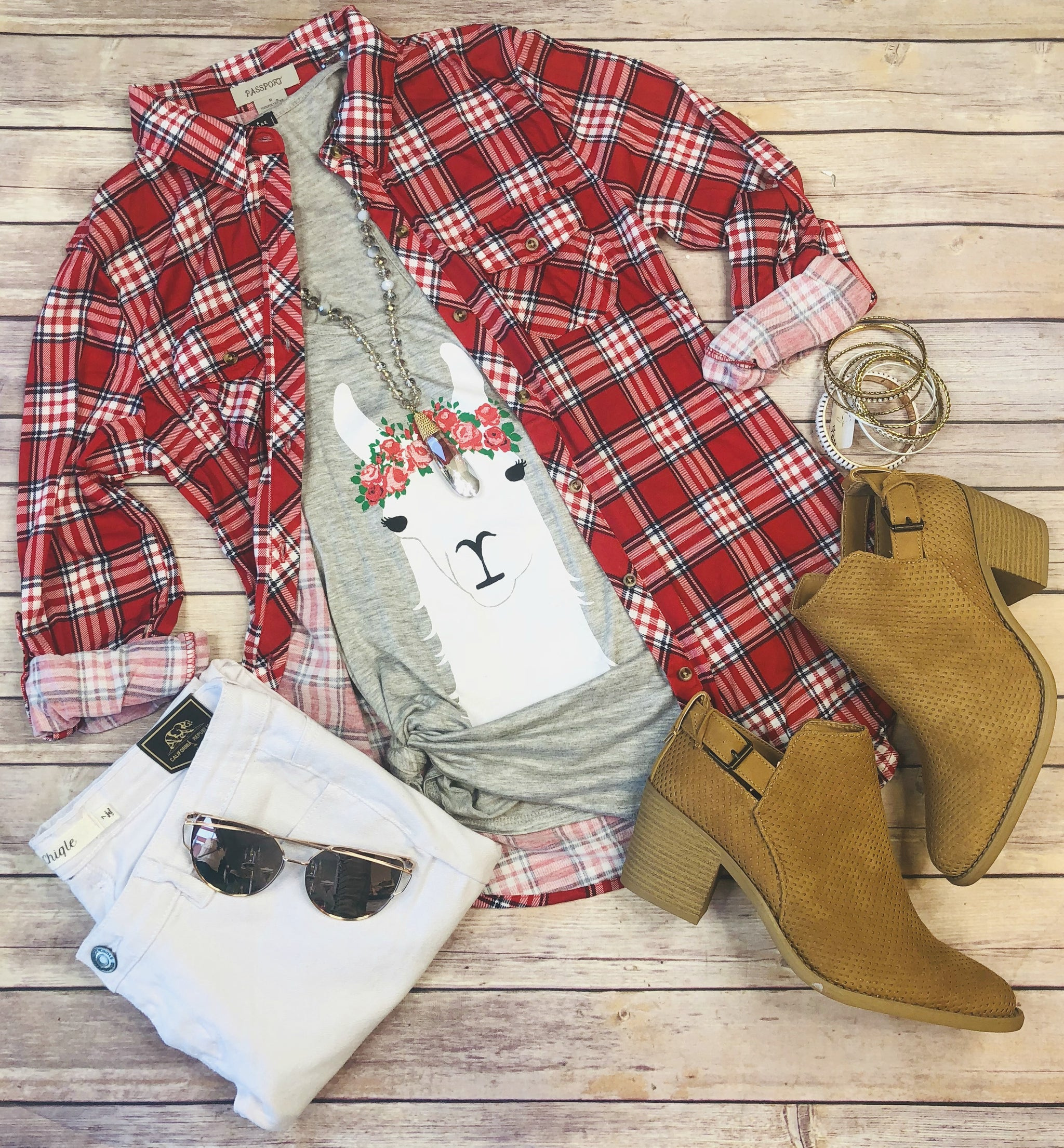 Penny Plaid Flannel Top: Red/White/Navy