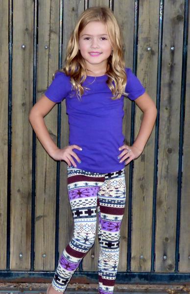 Girls Basic Fitted Tee: Purple