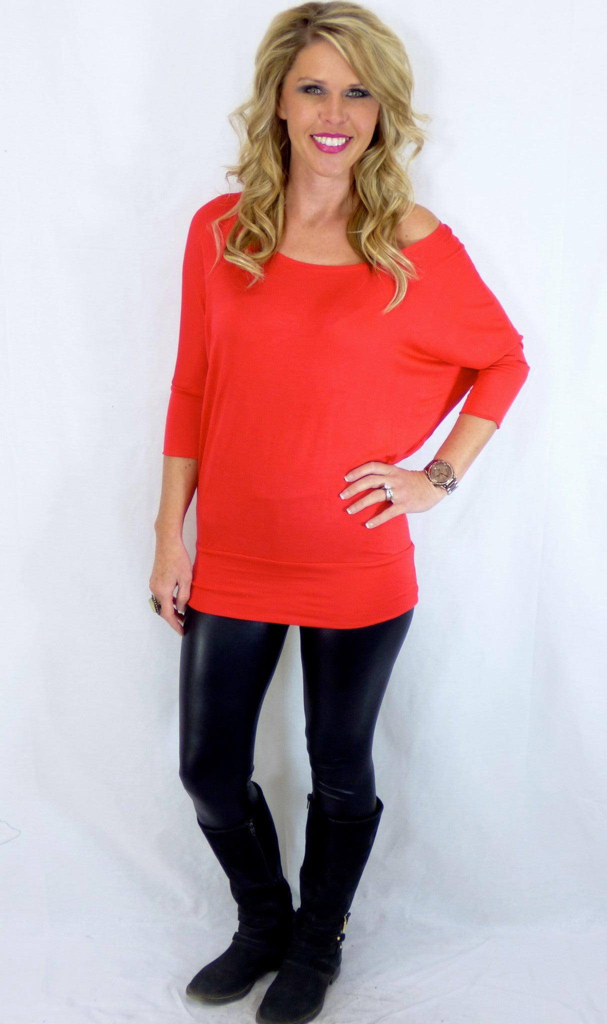 Banded Dolman 3/4 Sleeve: Red