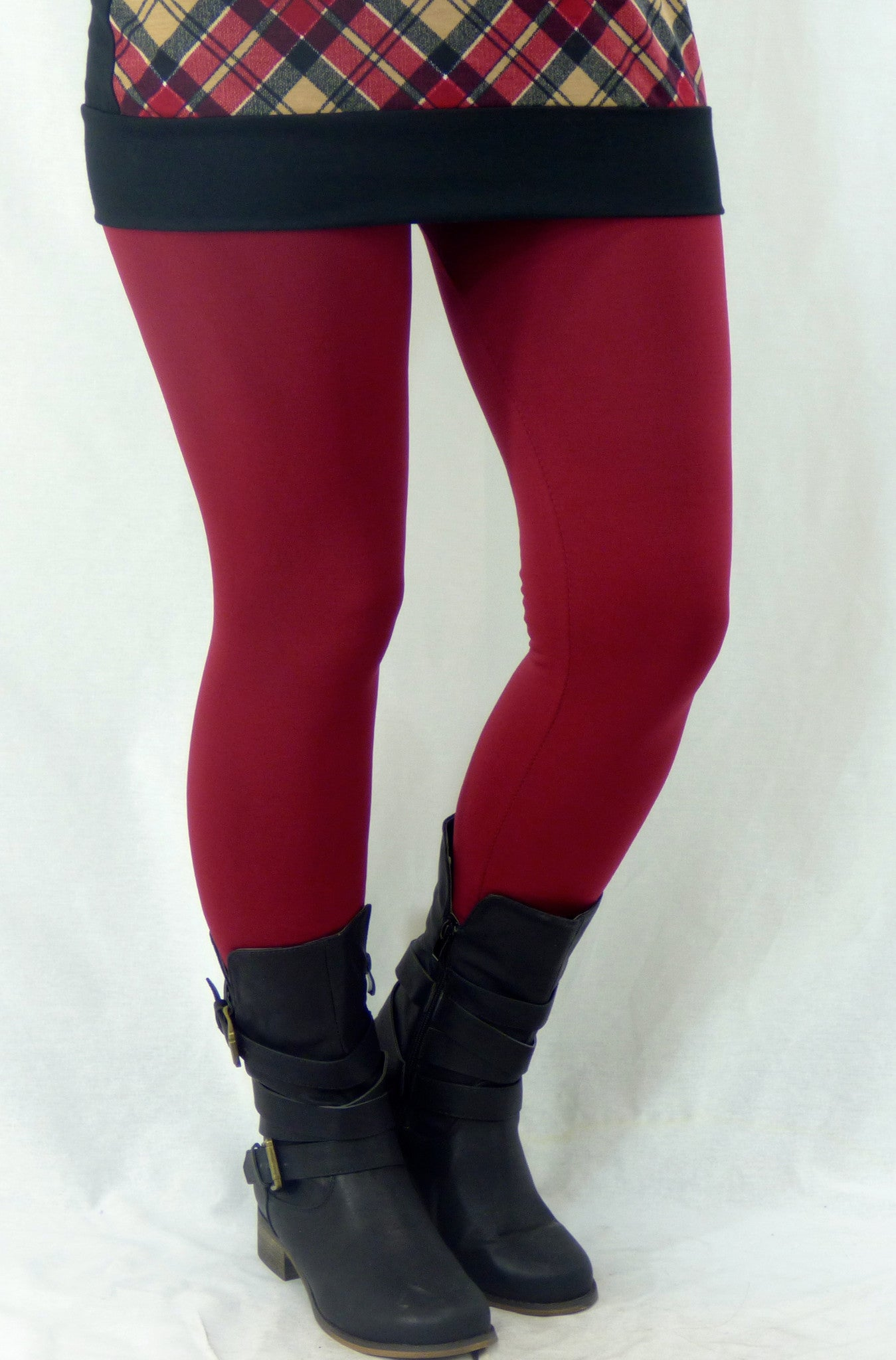 Must Have Fleece Lined Leggings: Burgundy