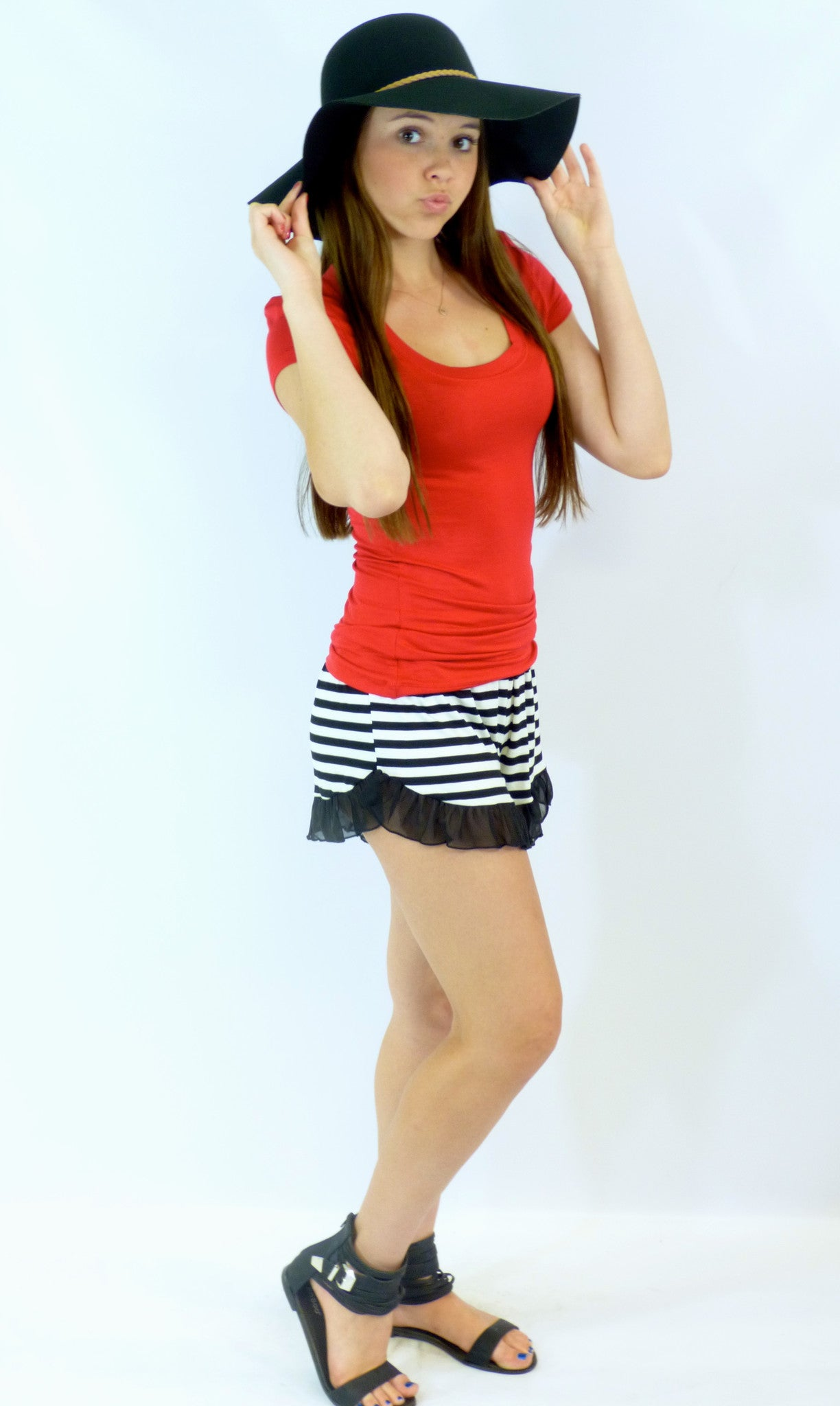 Stripe with Ruffle Shorts