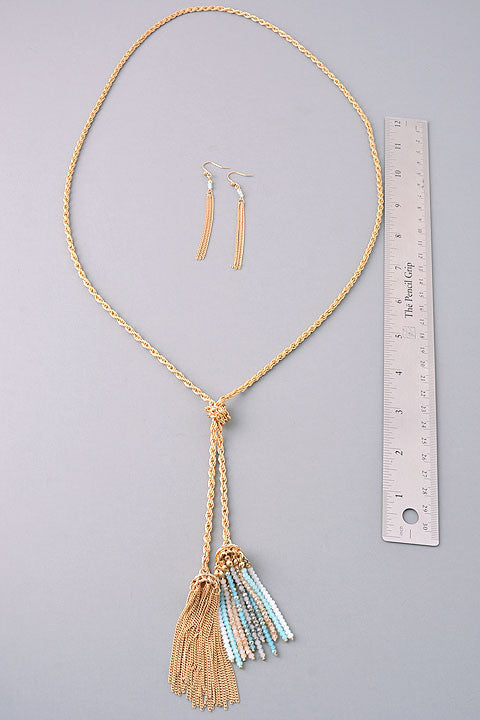 Double Down Tassel Necklace: Multi