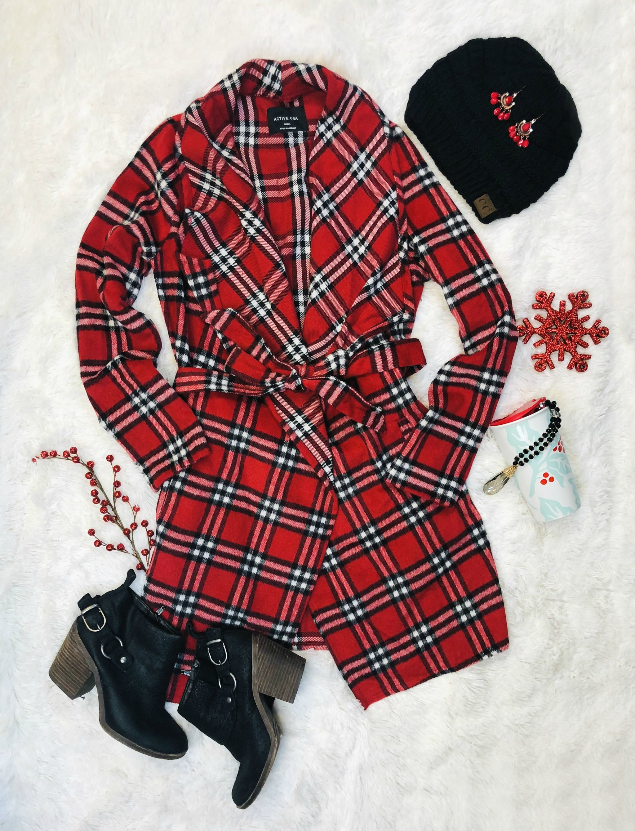 See You In The City Red Multi Plaid Coat