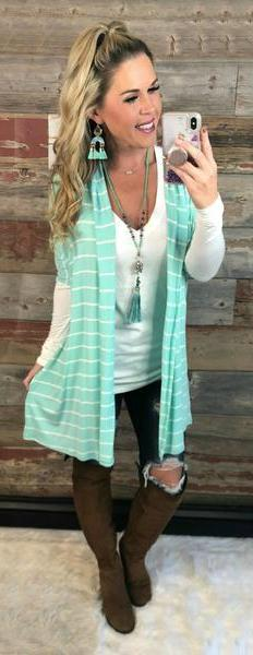 Striped Hooded Mint Cardigan