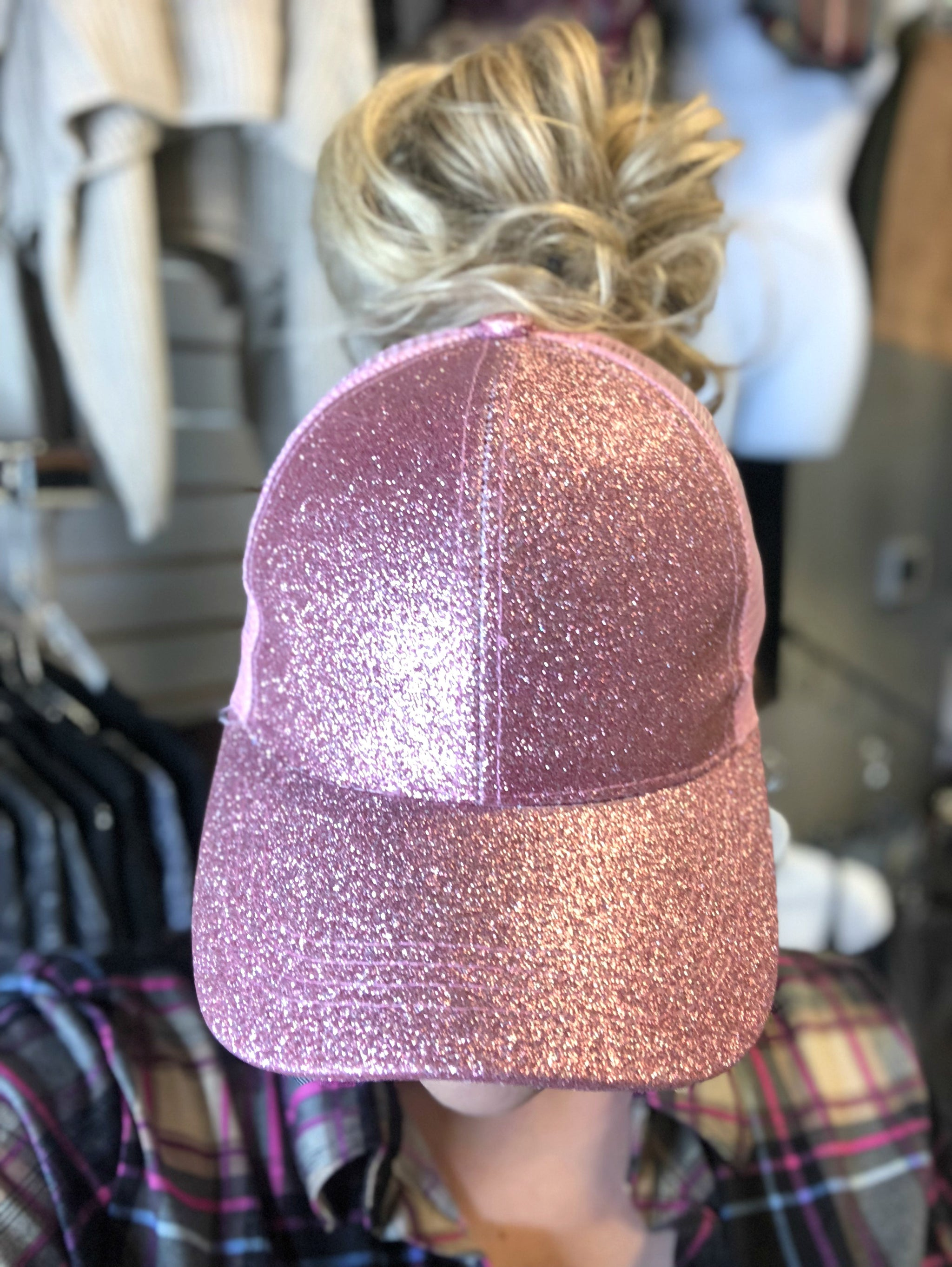 Glitter Pony Tail Hat: Pink