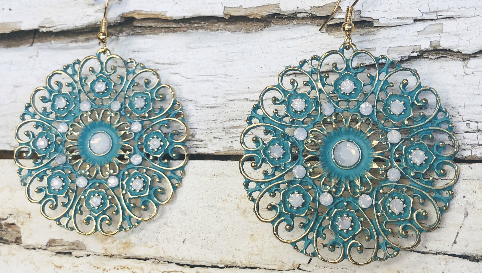 Sweet Fun Day Teal Dangle Earrings