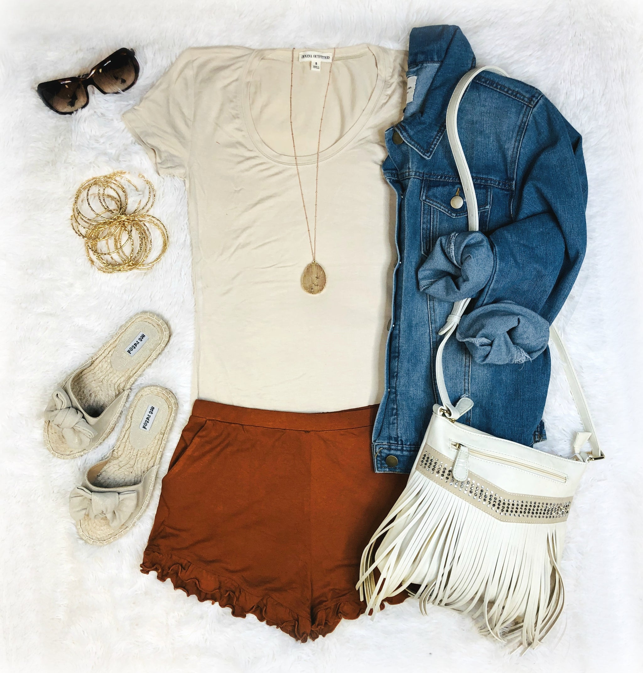 Always On Time Ruffled Shorts: Rust