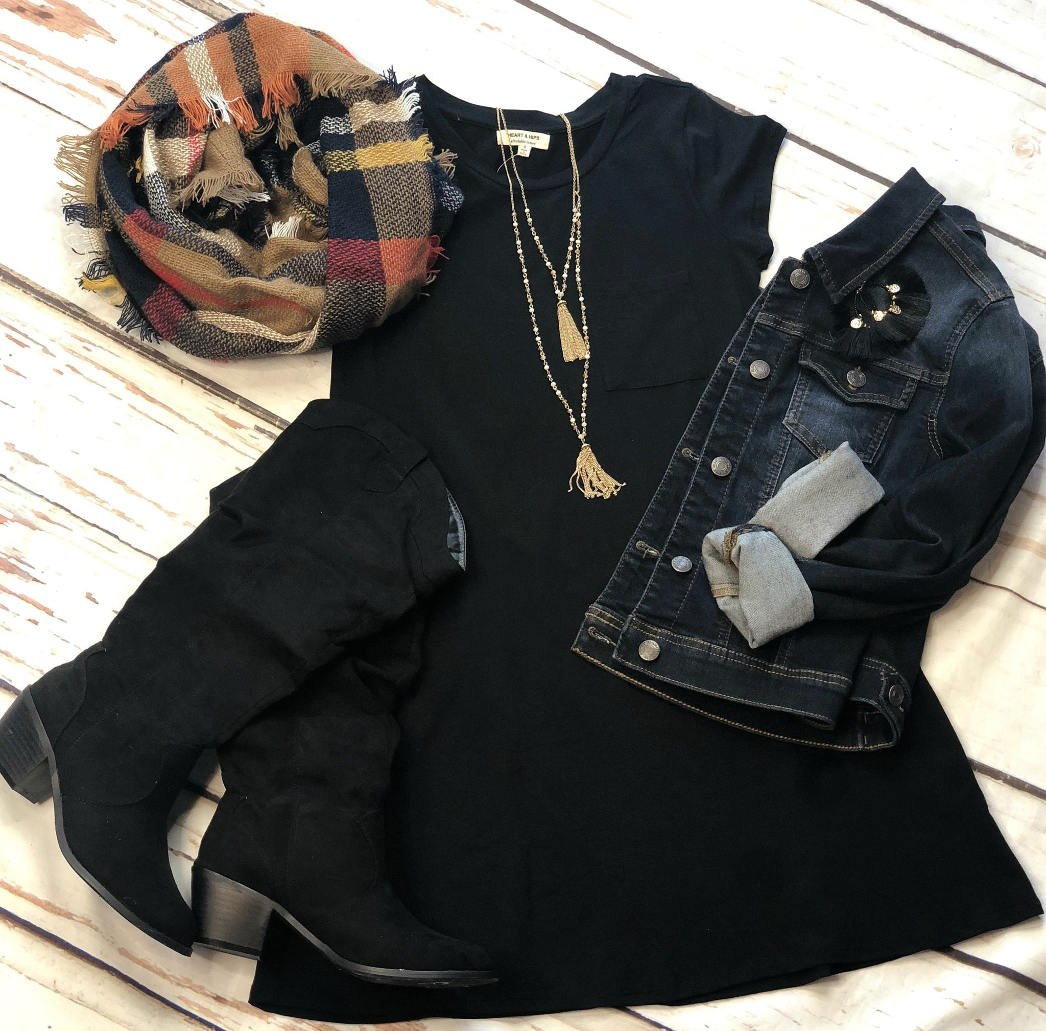 Fun in Fall Tunic Dress: Black
