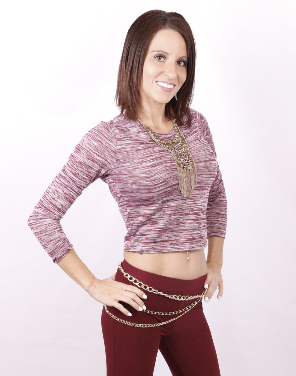 Lola Cropped Top: Burgandy