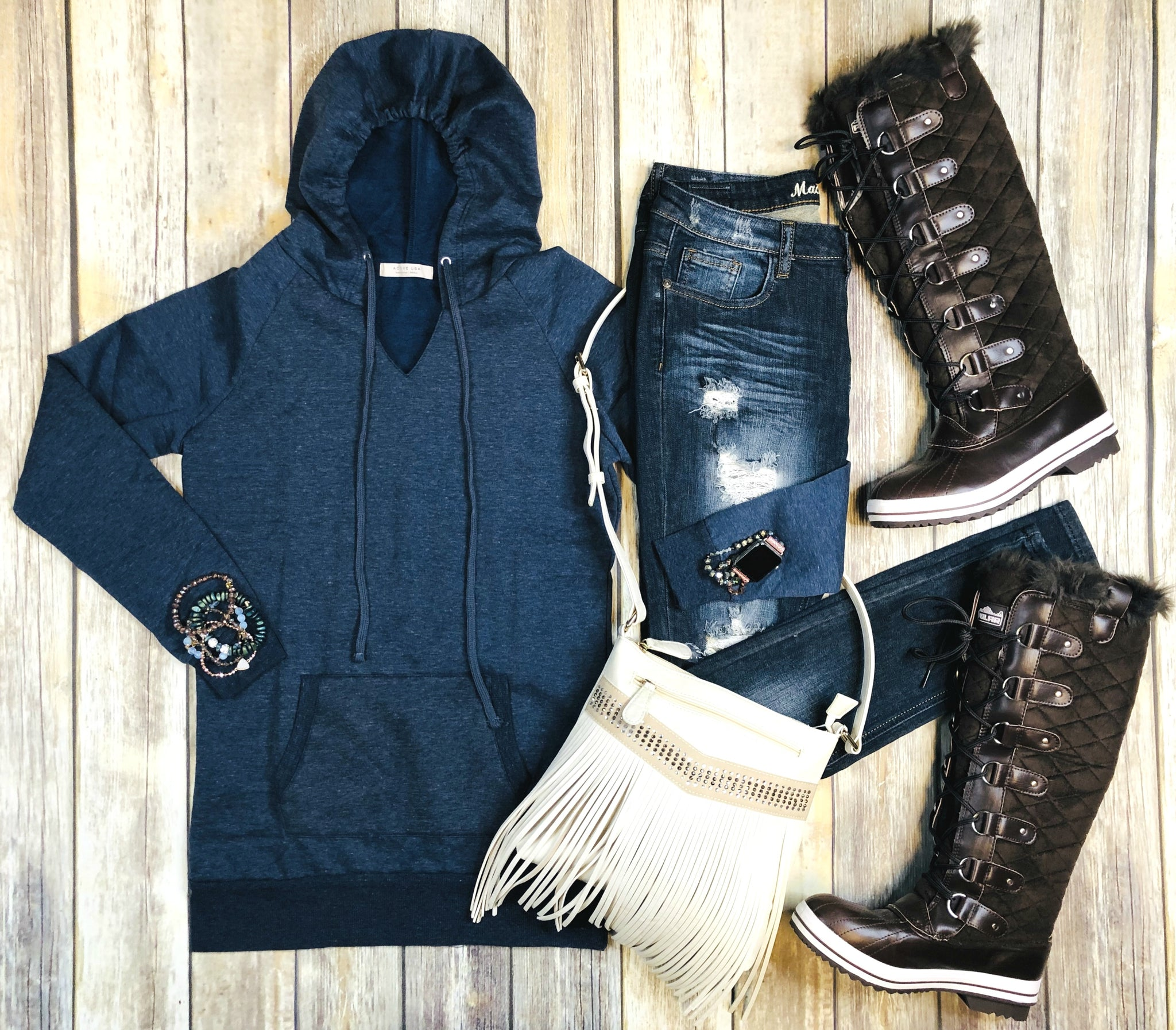 Long Hooded Sweatshirt: Denim