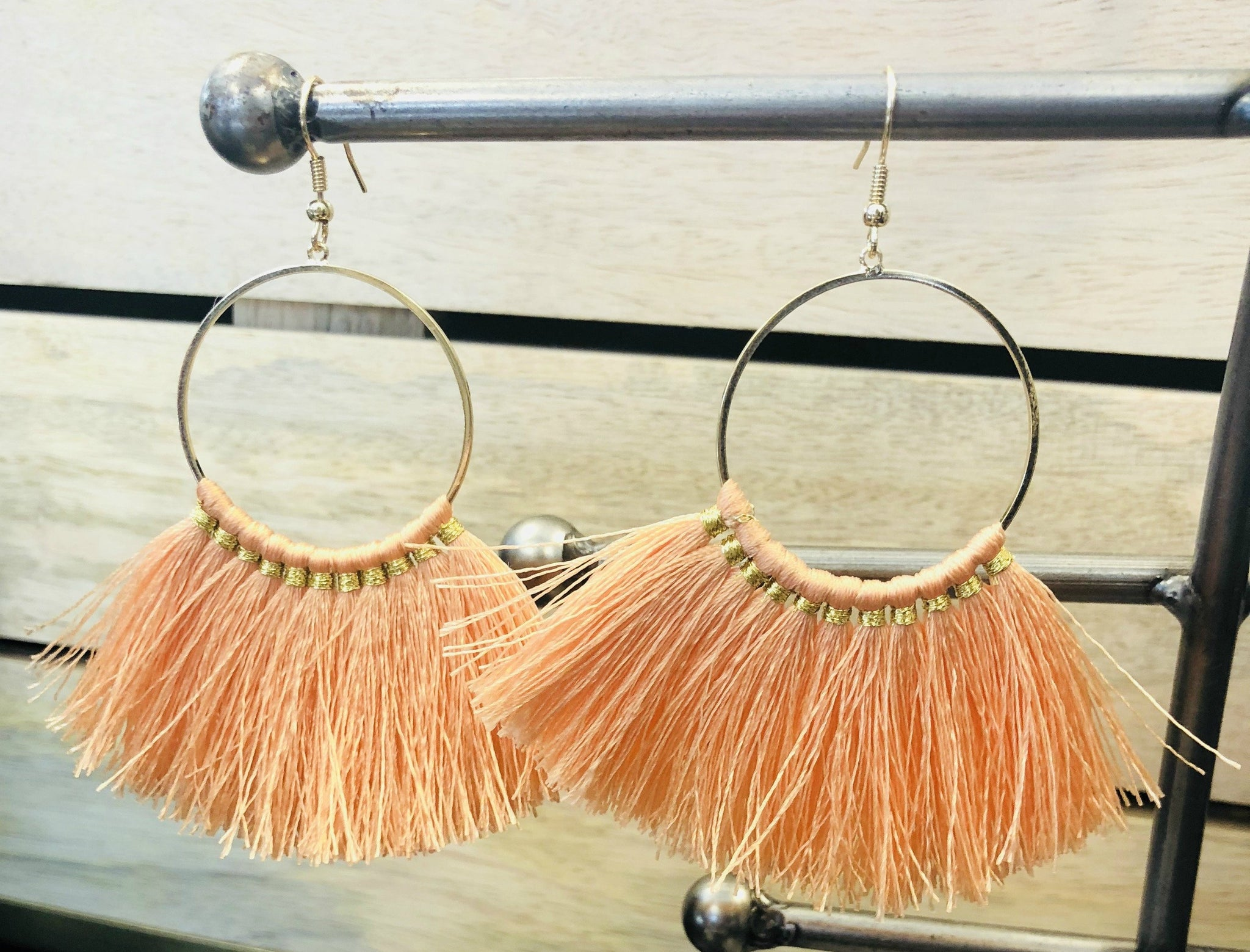 Stealing Glances Tassel Earrings: Coral