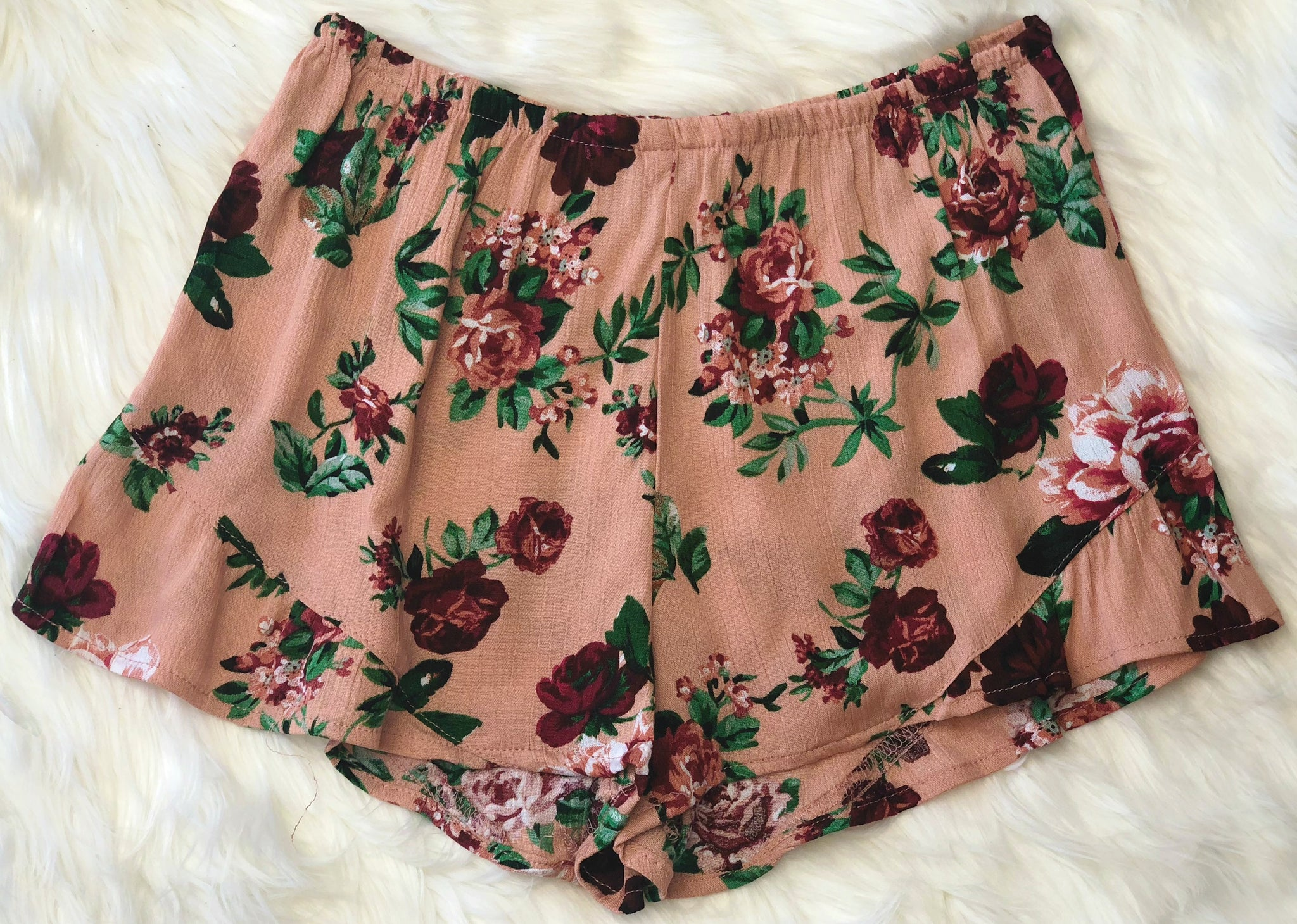 Our Little Secret Floral Shorts: Rose