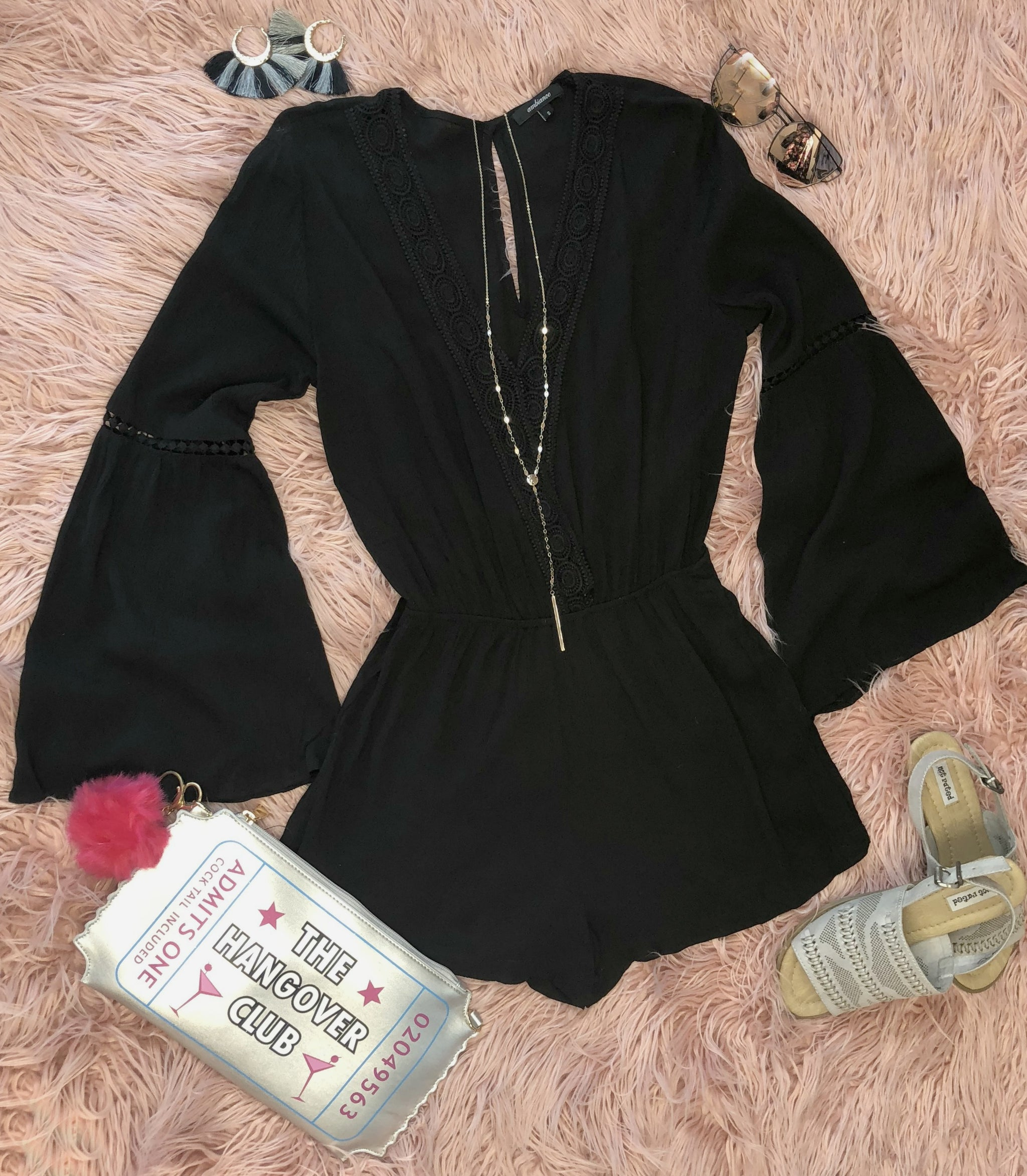 Go Back in Time Romper: Black
