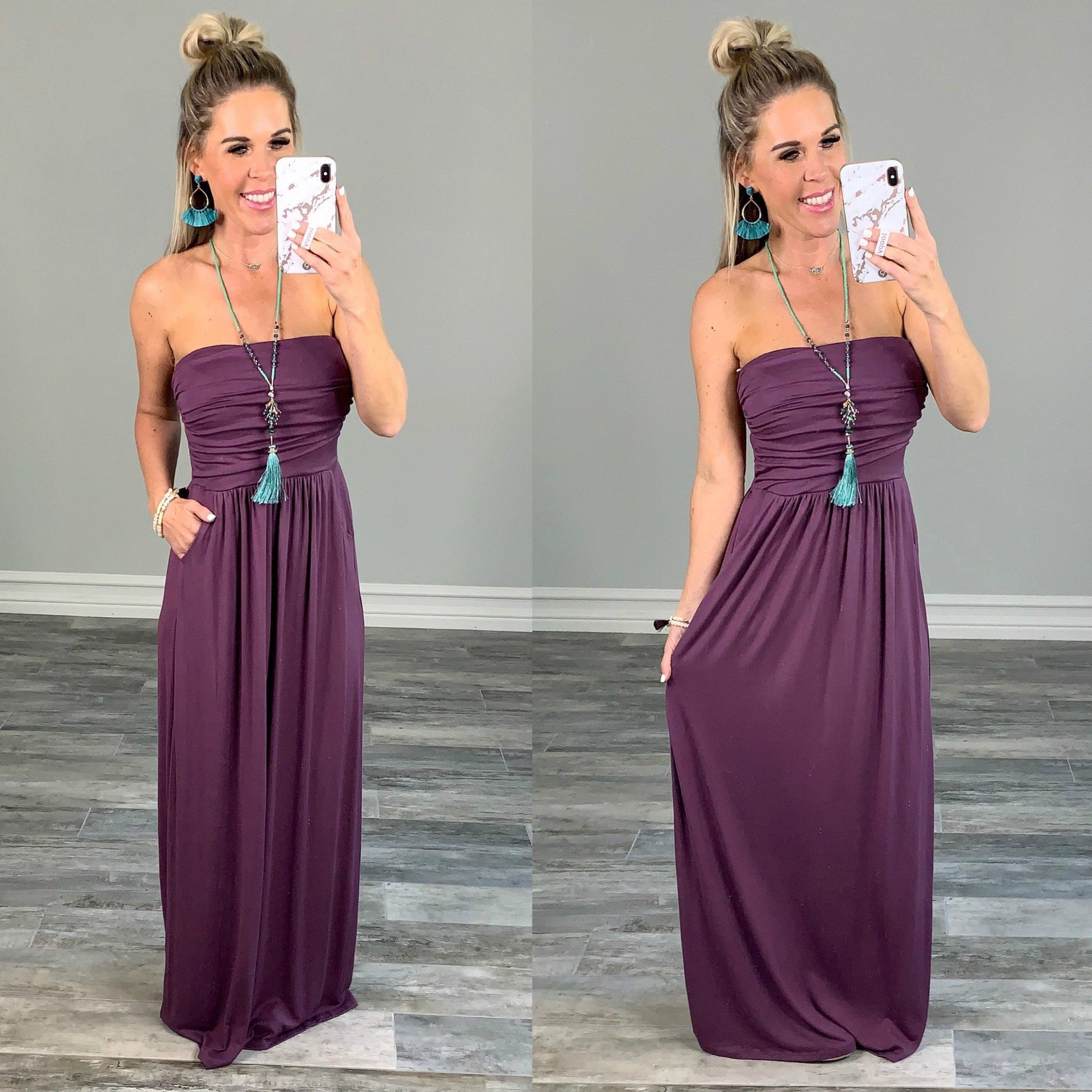 Your so Classic Pocket Maxi Dress - Eggplant