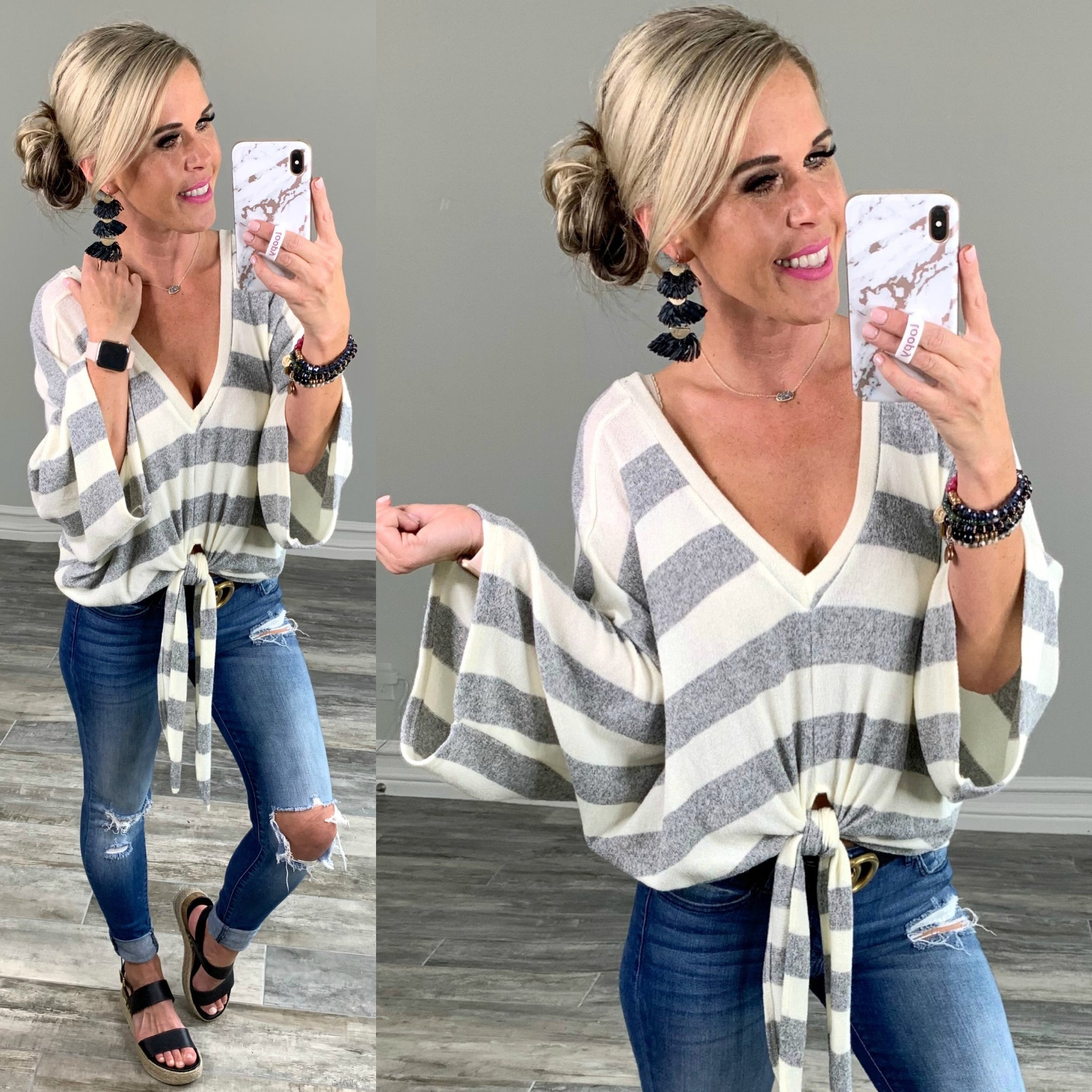 Striped Tie Sweater